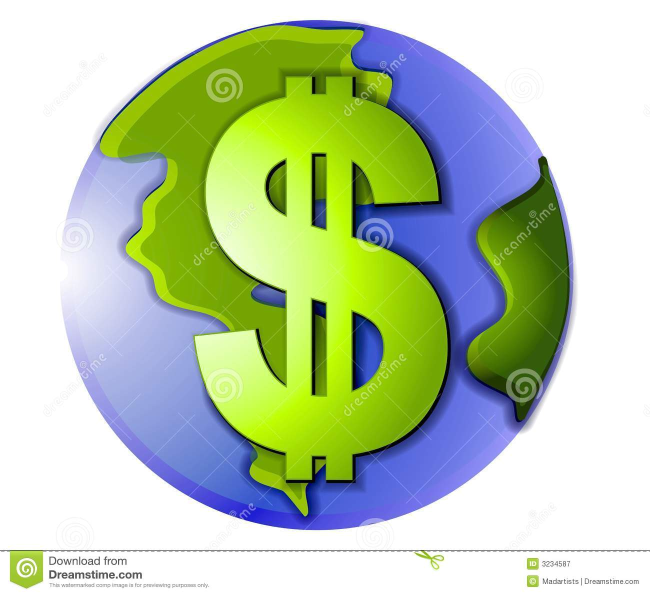 clip art illustration of the planet earth with a dollar on the front ...
