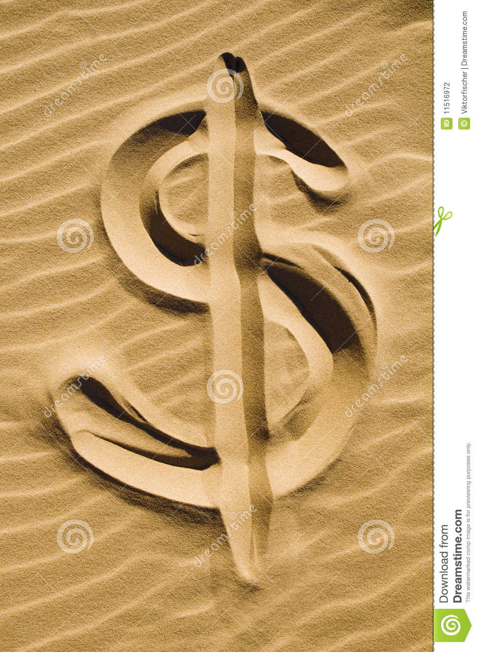 Dollar sign in the sand