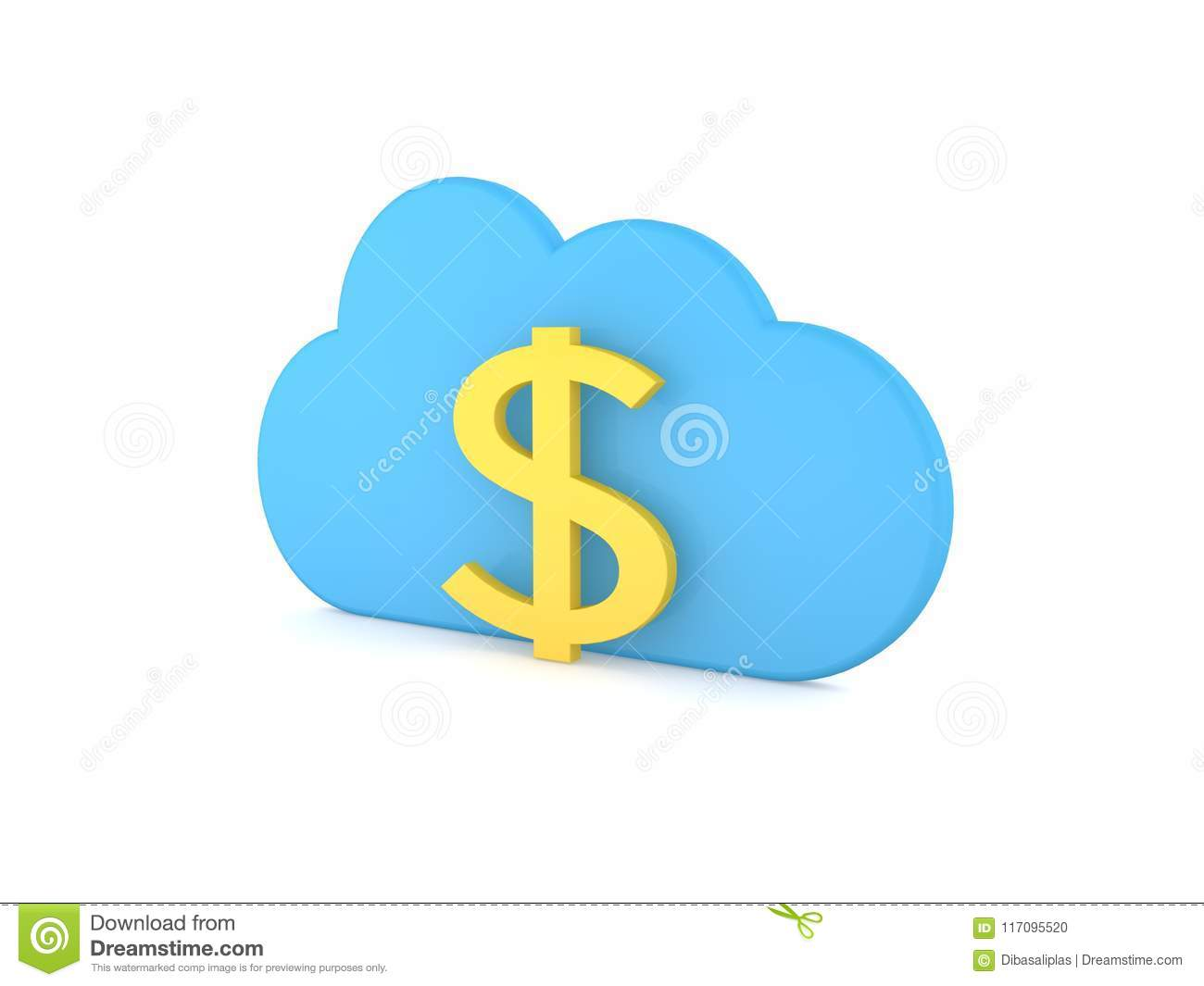 Dollar Sign And Symbol Of The Cloud Business In The Network Stock