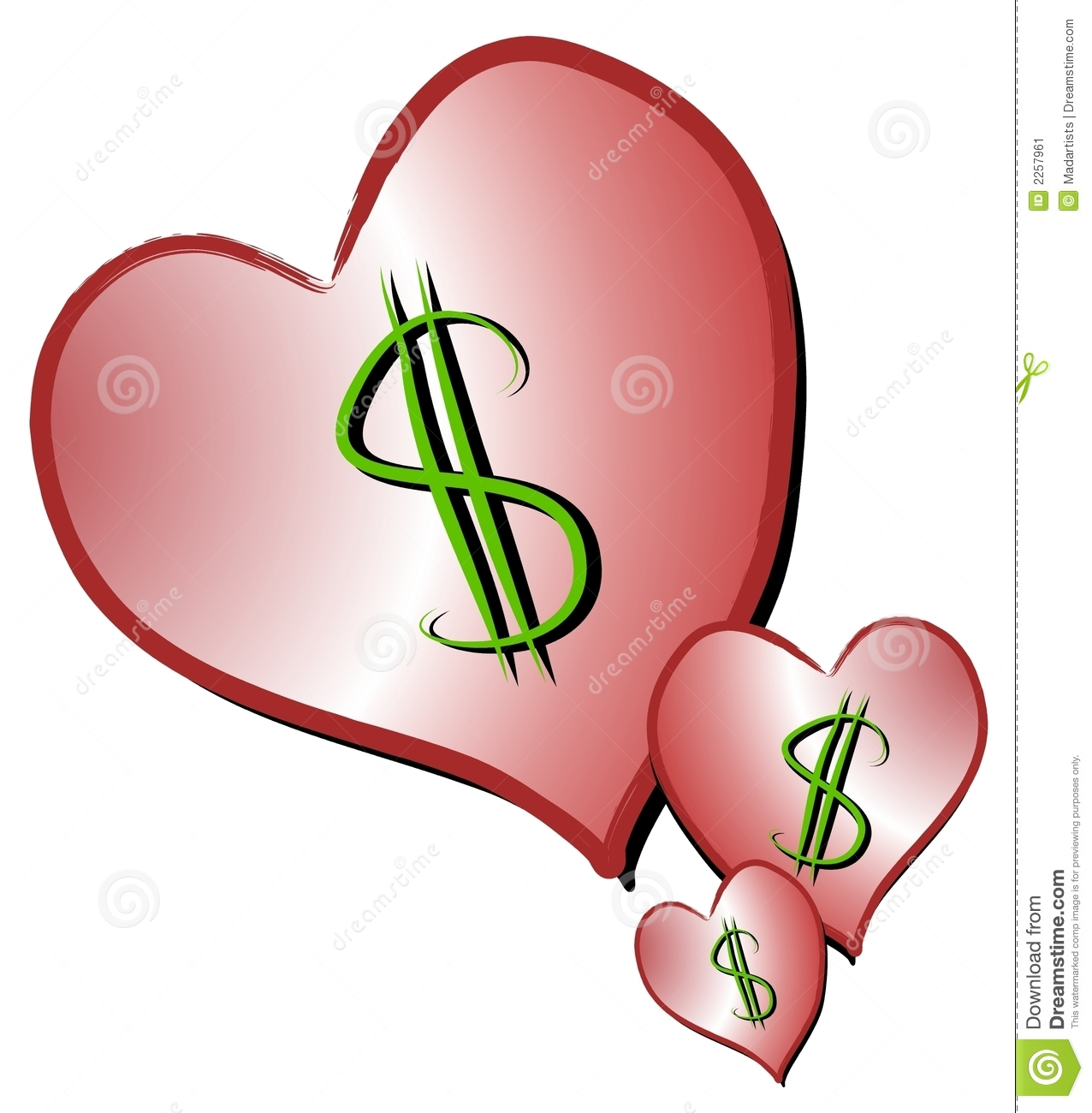 Dollar Signs On Hearts Clipart Stock Illustration