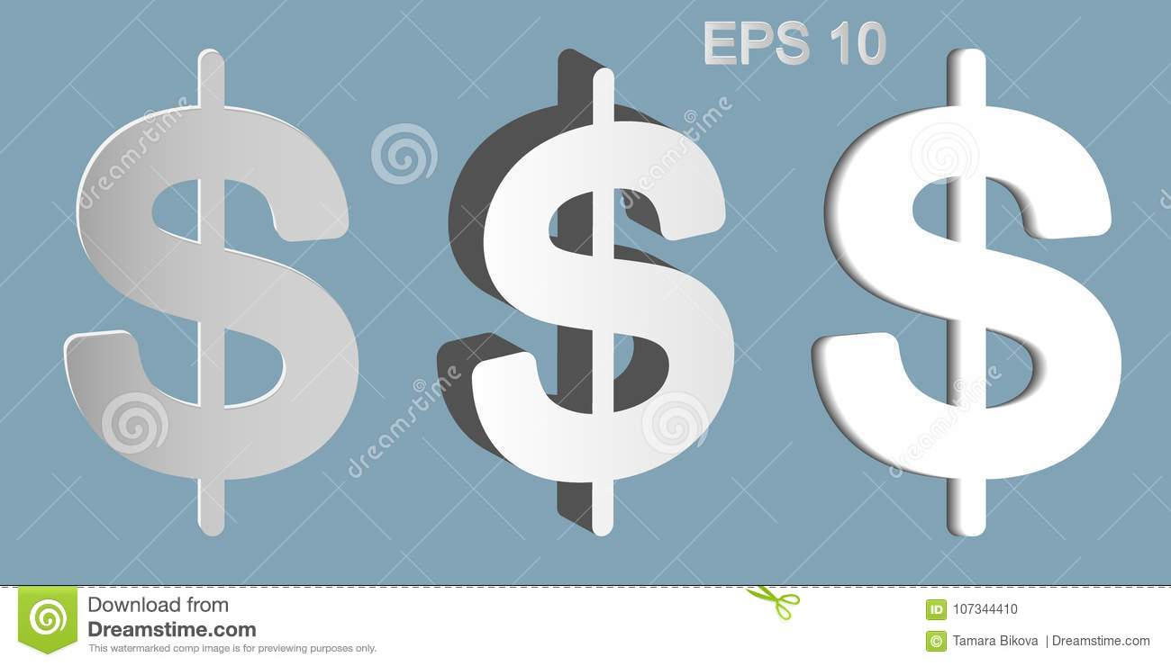 The Dollar Symbol Has Three Types Stock Vector Illustration Of