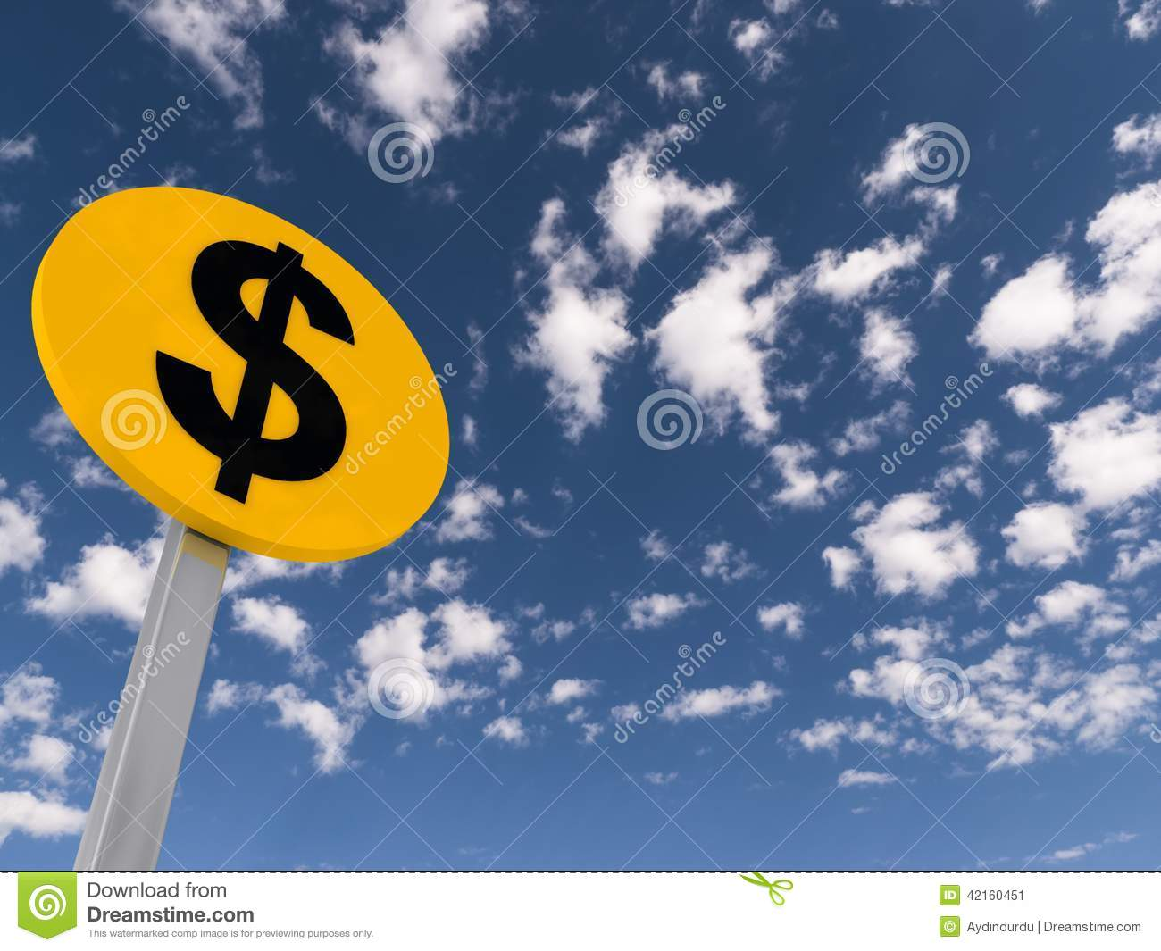 Dollar traffic sign