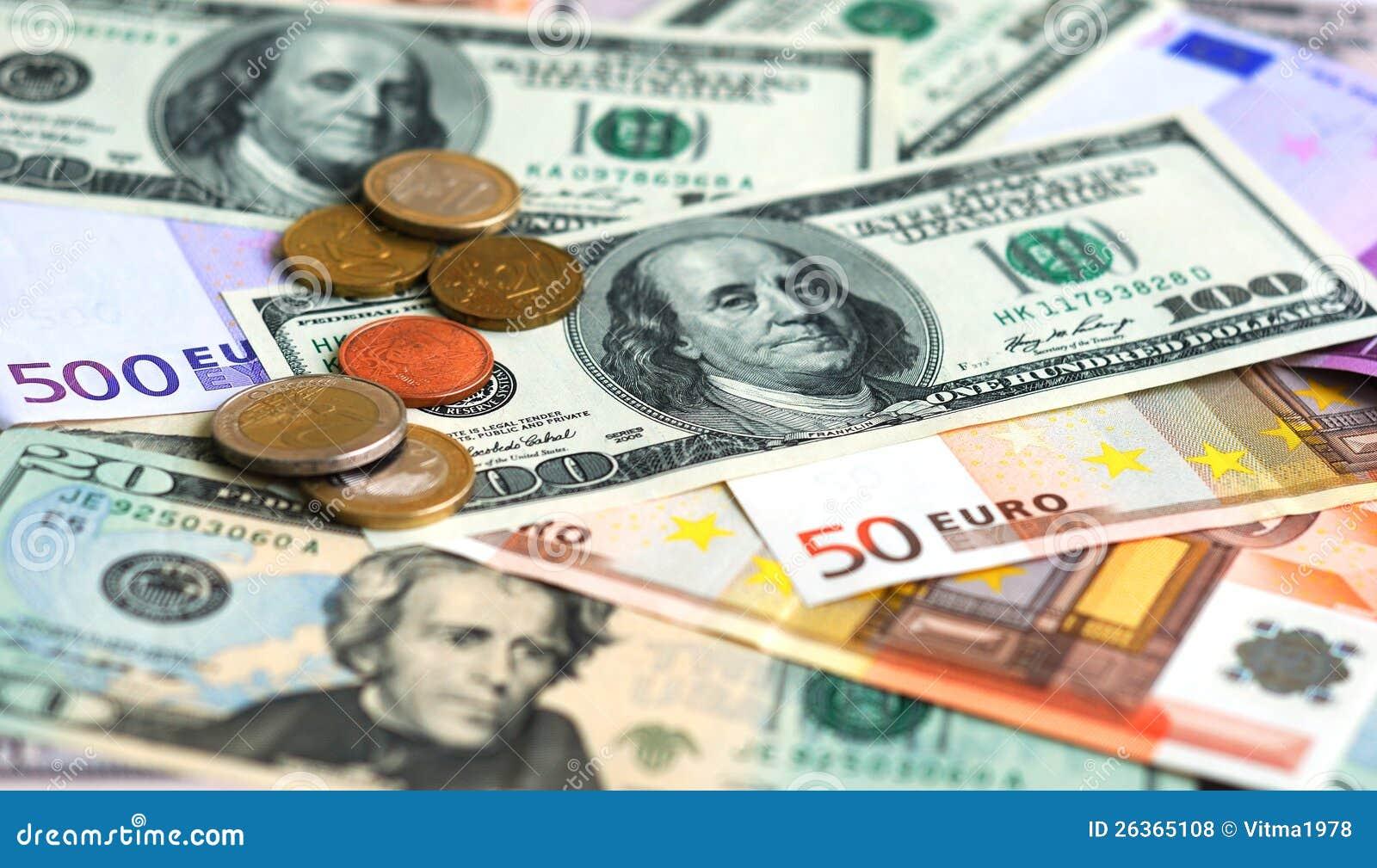 Dollar und Eurobanknotegeldhintergrund