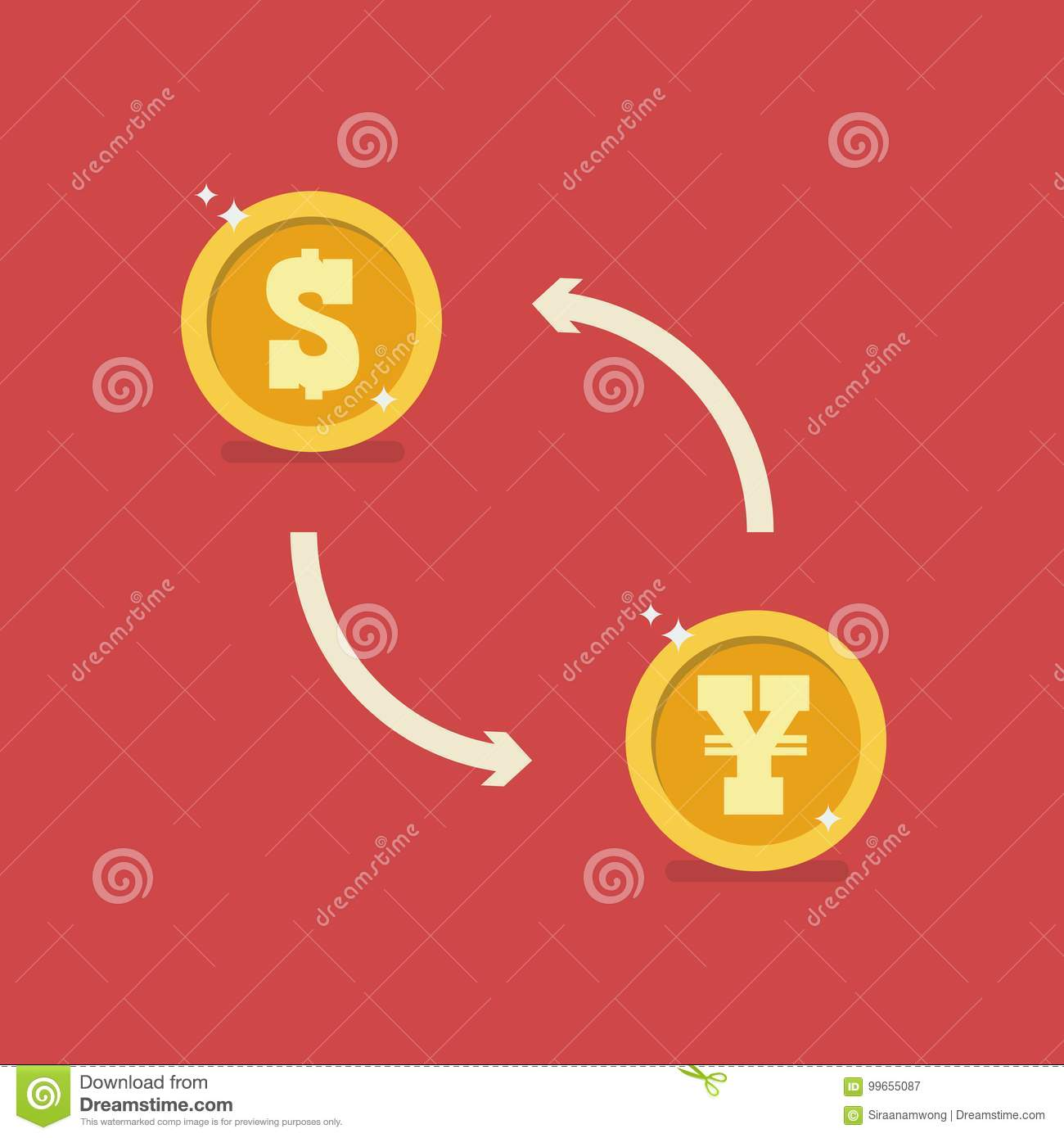 Dollar And Yen Currency Exchange Stock Vector - Illustration