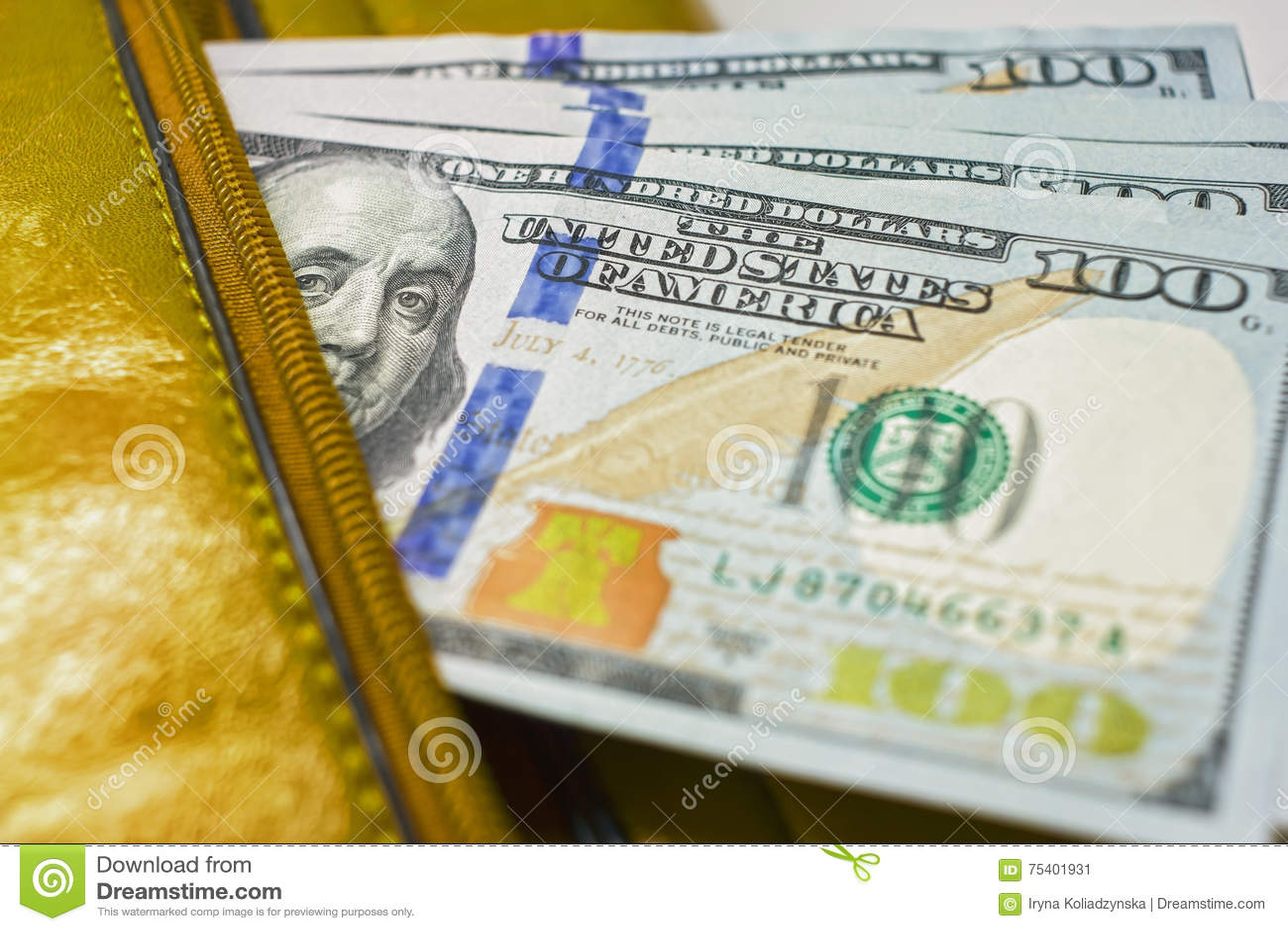 Dollaranmerkungen in einer Geldbörse, Hundertdollar-Rechnungen sind in einer Tasche,
