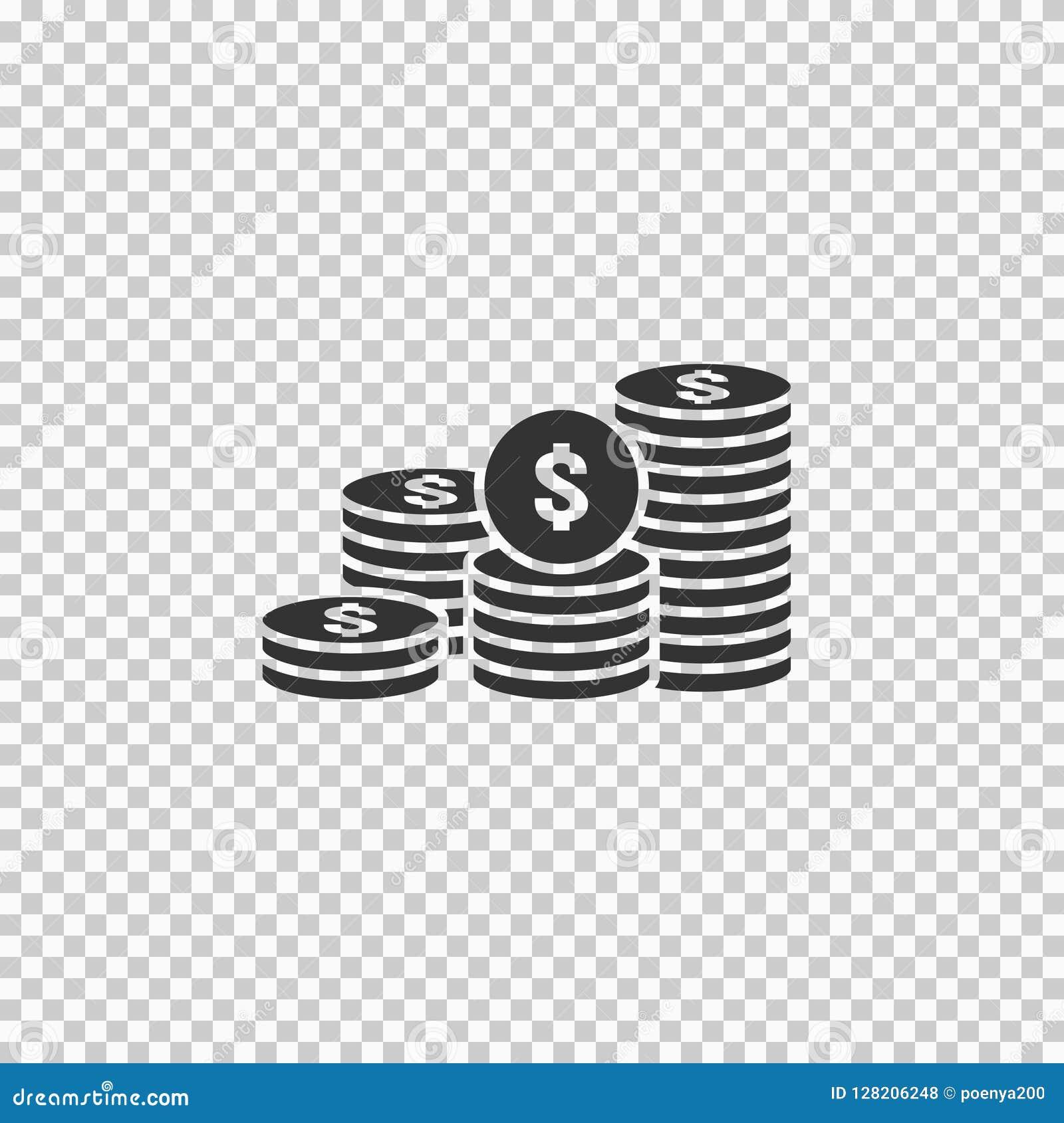 Dollarhögen myntar symbolen guld- guld- pengarbunt för vinstfinansiering begrepp för tillväxt för affärsinvestering för informati