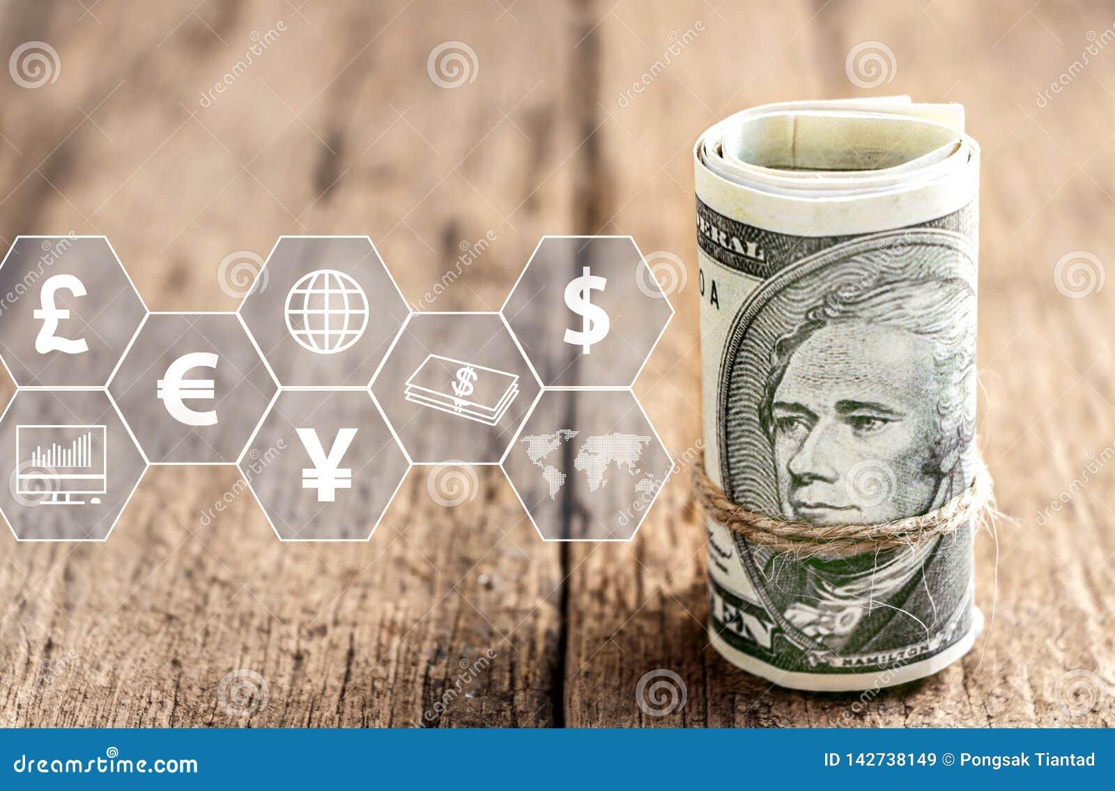 Dollaro americano con l icona virtuale sulla tavola di legno Il concetto di commercio mondiale finanziario o di crescita, di affa