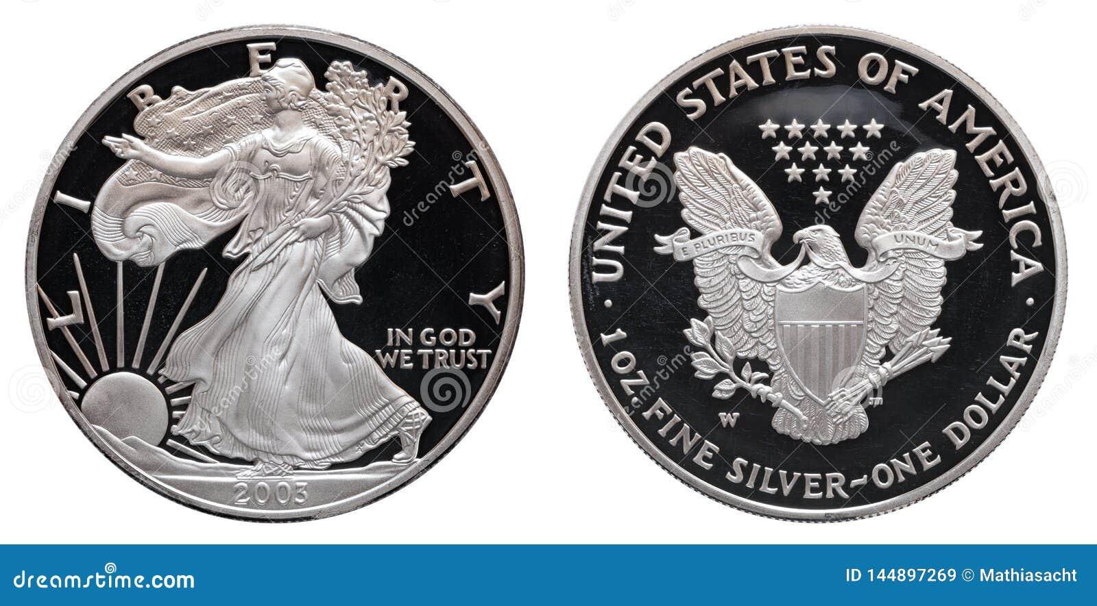Dollaro d argento americano dell aquila isolato su fondo bianco