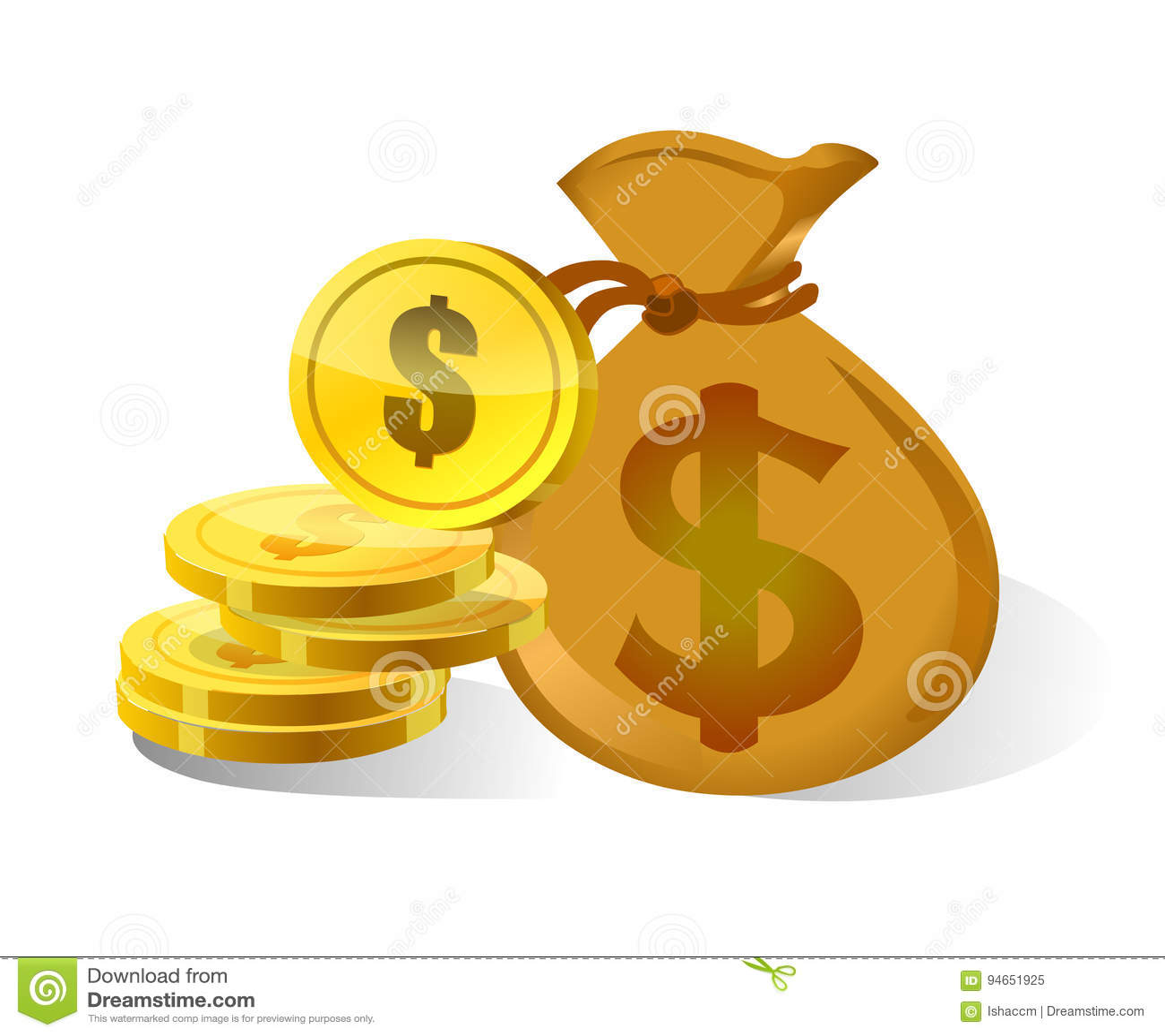 Dollarpengarpåse och symbol
