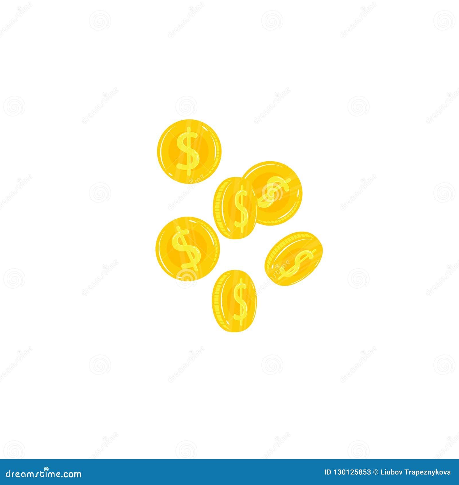Dollarpengartecken Fallande vektorsymbol för guld- mynt