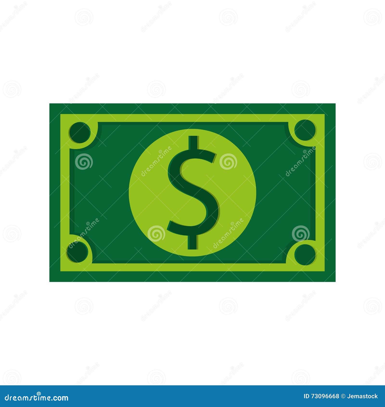 Dollarräkning, vektorillustration över vit bakgrund