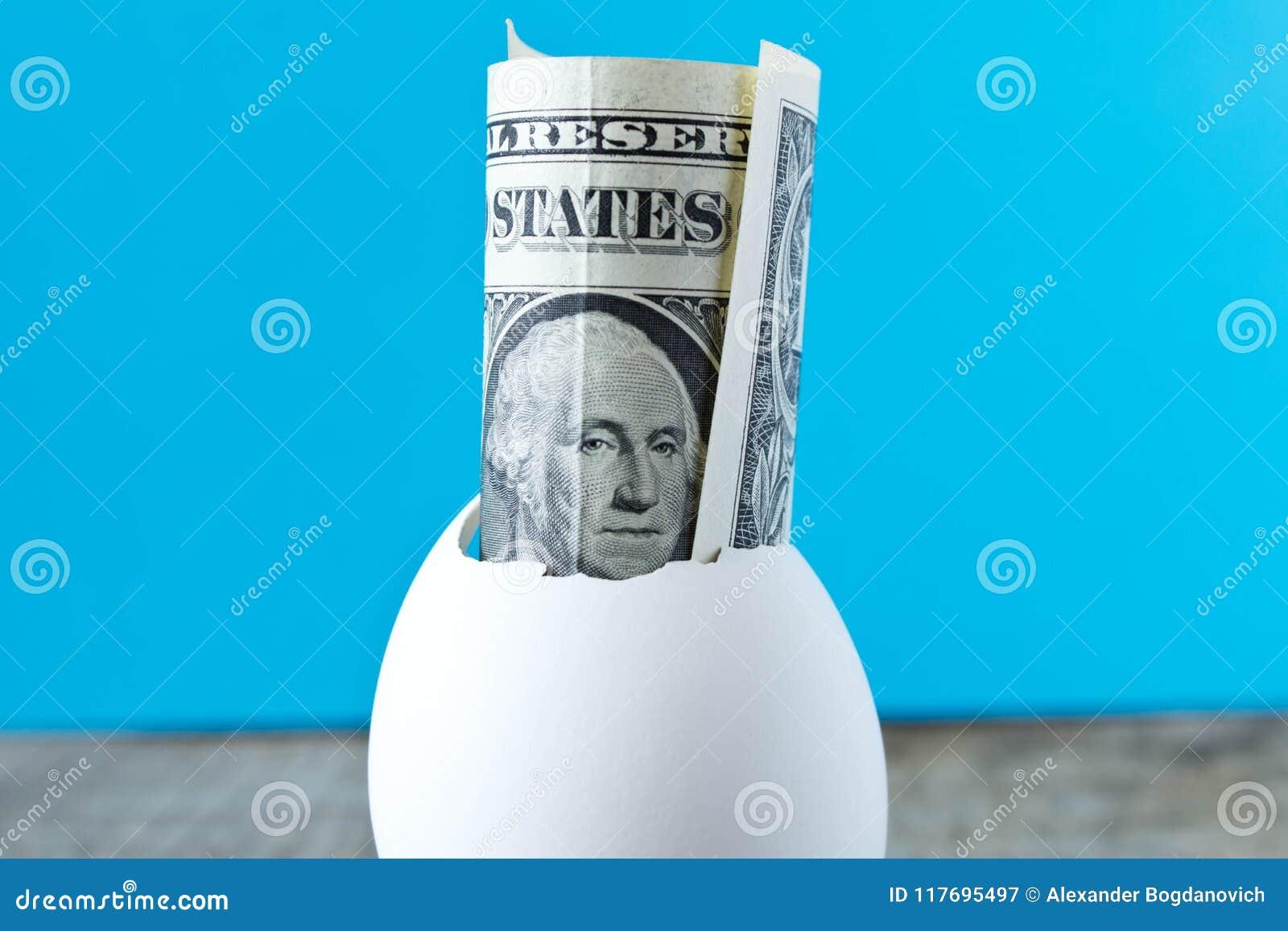 1 dollarrekening in eishell Op een turkooise achtergrond Mede