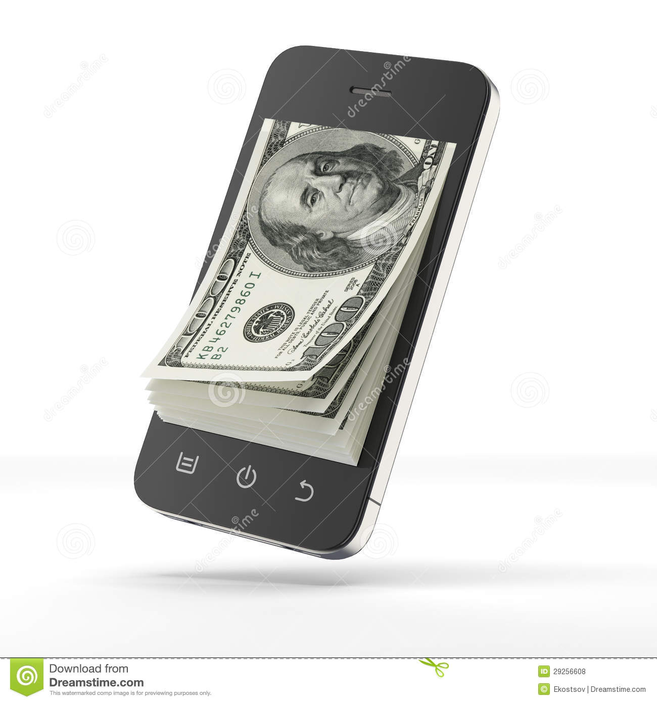 dollars l int rieur de t l phone intelligent