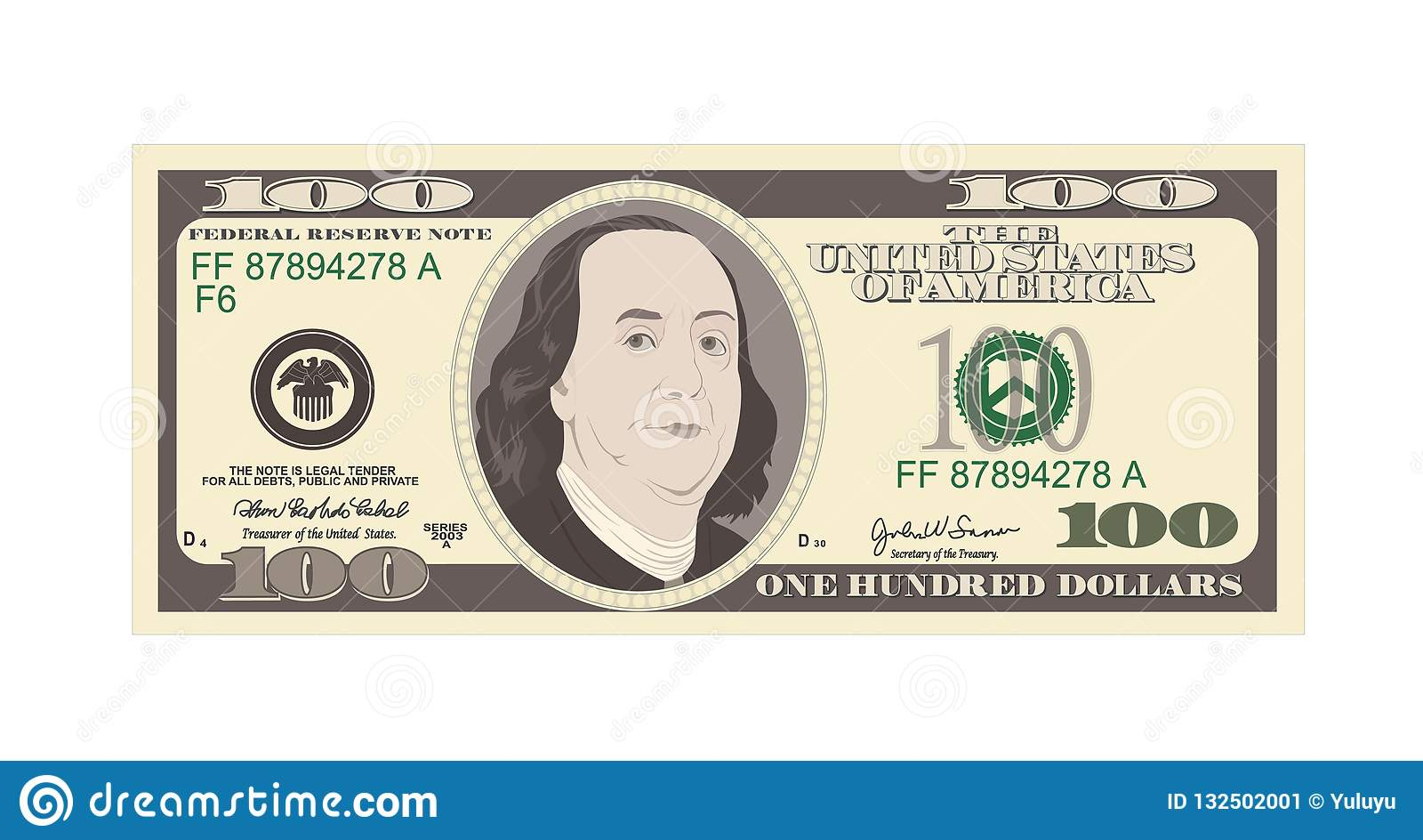 100 Dollars Banknote, bill one hundred dollars, american president Benjamin Franklin