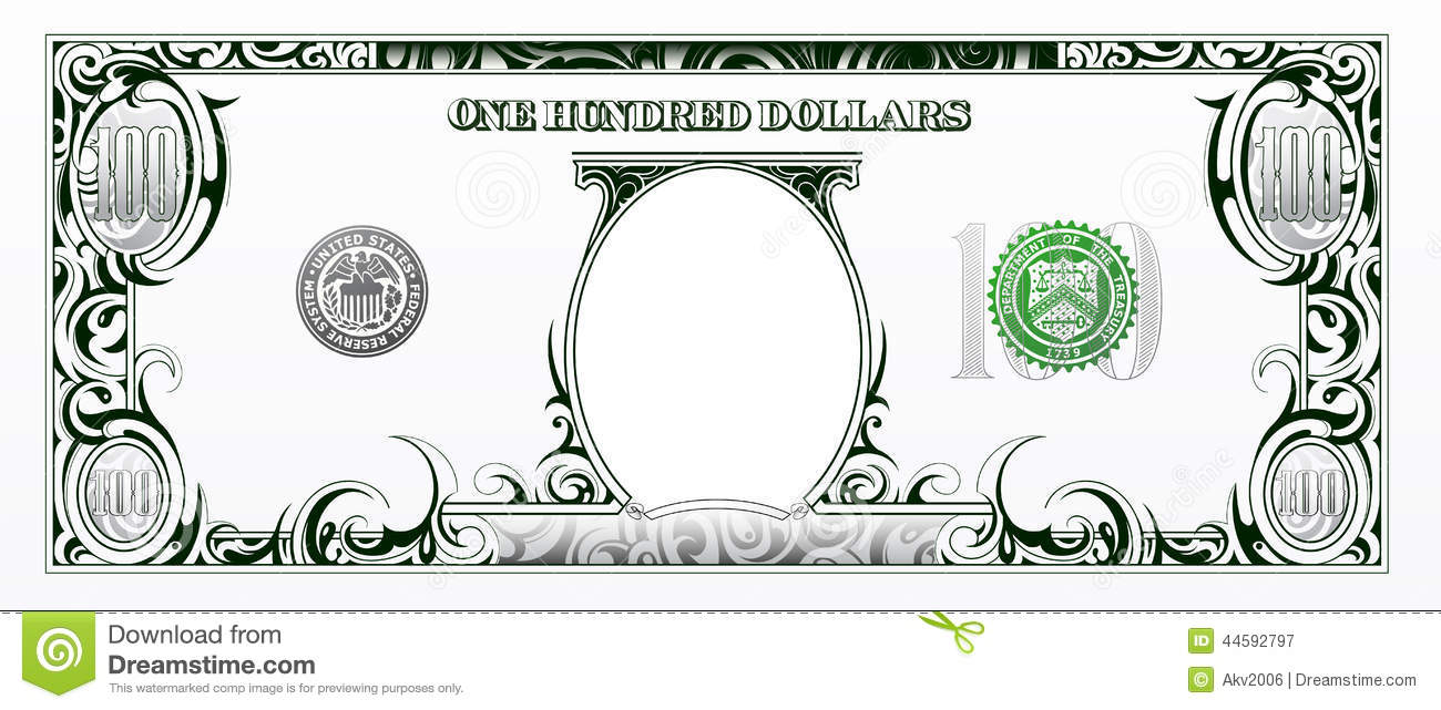dollar certificate template - one hundred dollar bill cartoon money stock vector