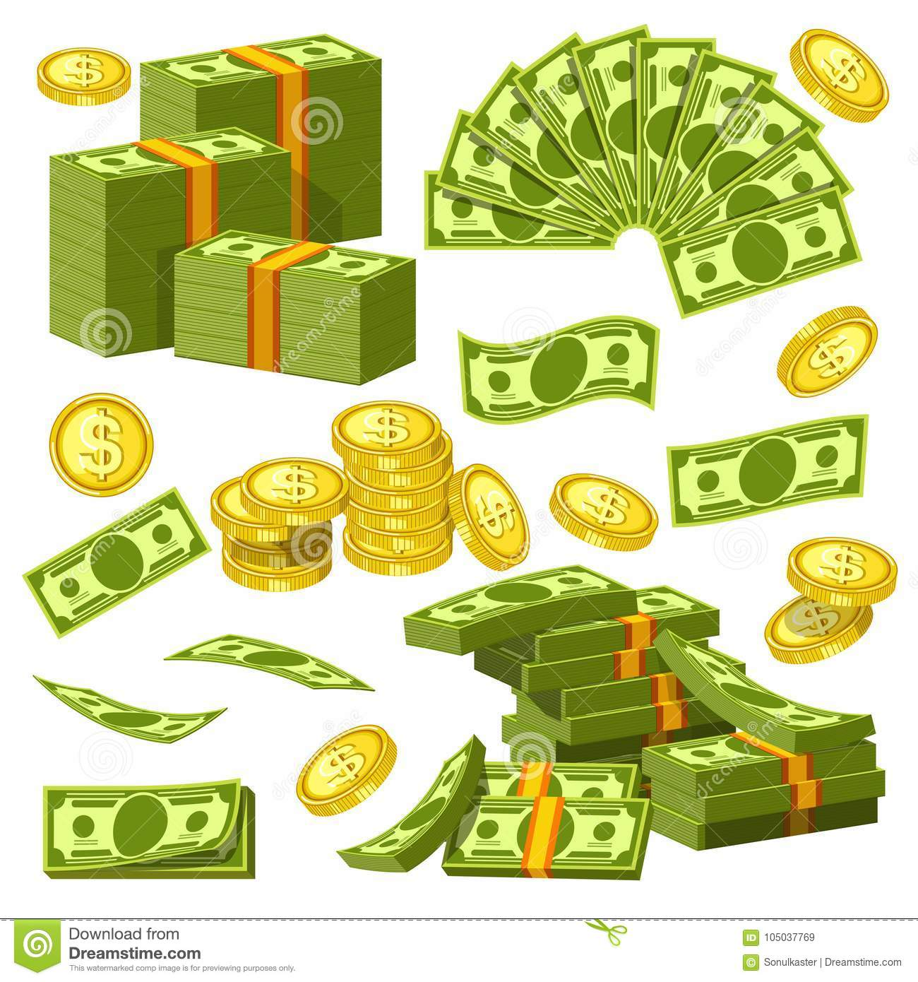 Money Banknotes And Golden Coins Bank Dollars And Cents