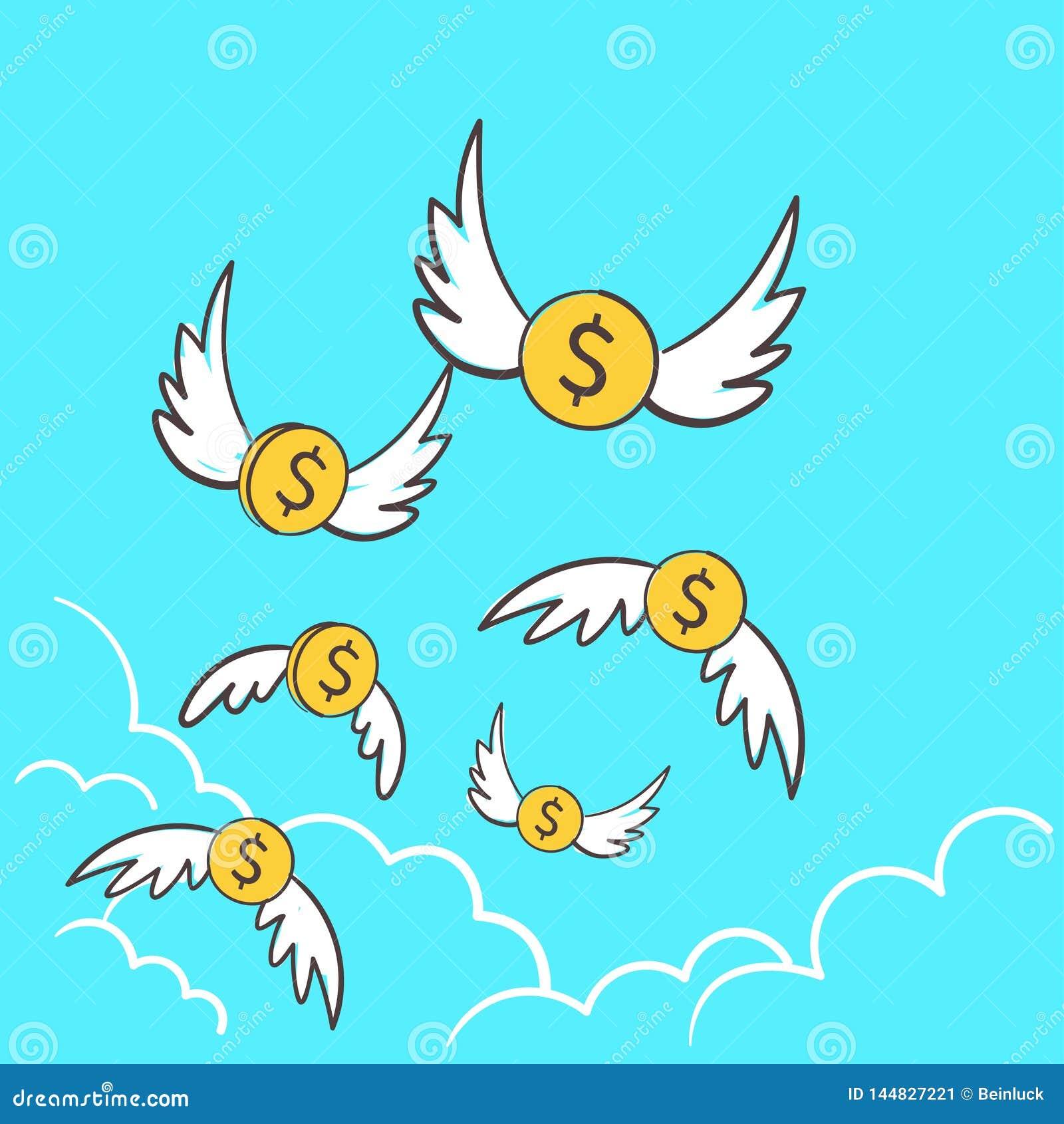 Dollars de pi?ces de monnaie d argent avec le vol d ailes parti au ciel Une id?e de d?passement du budget d illustration pour per