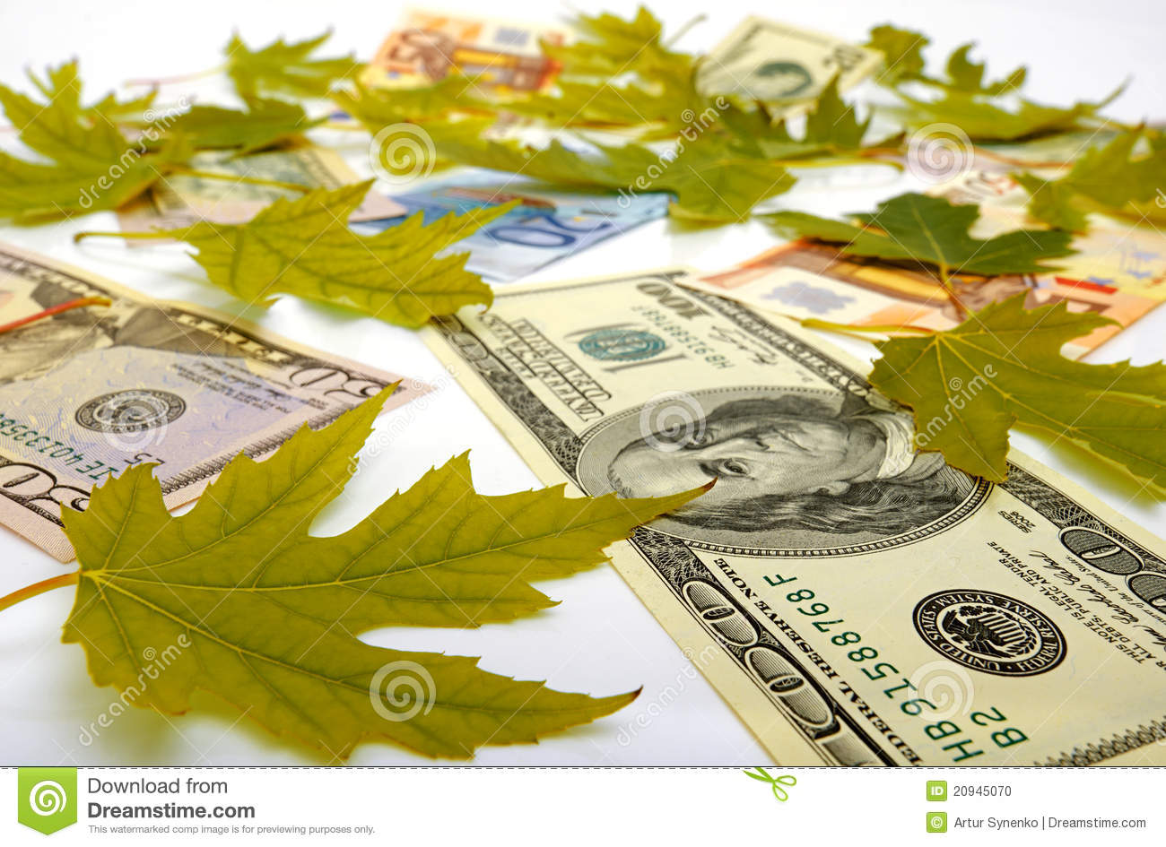 Dollars Euro And Autumn Leaves