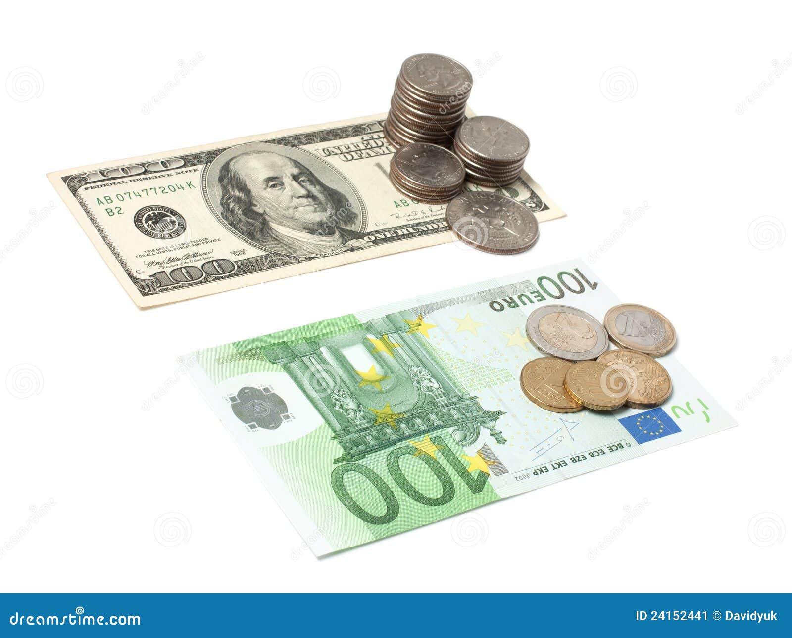 dollars and euros stock image image 24152441. Black Bedroom Furniture Sets. Home Design Ideas