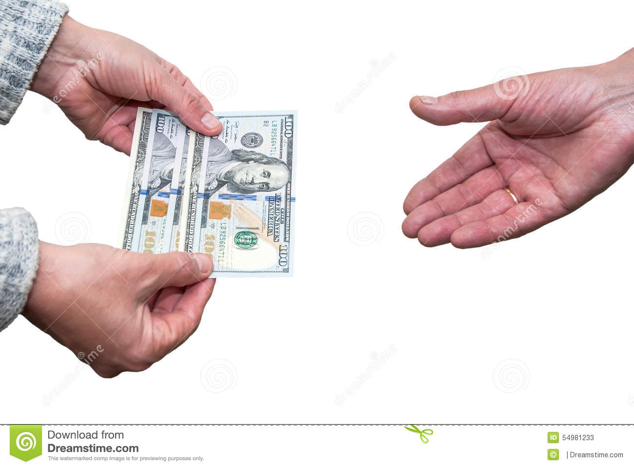 Dollars in the hand