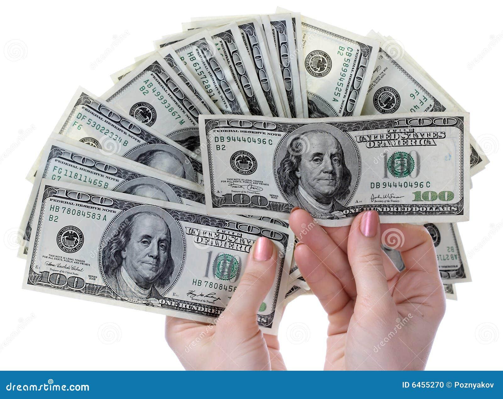 Dollars in handen.