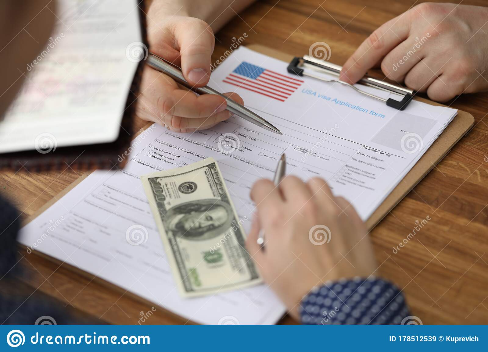 Dollars And Passport Are Visa Application Form Usa Stock Image Image Of Embassy Form 178512539