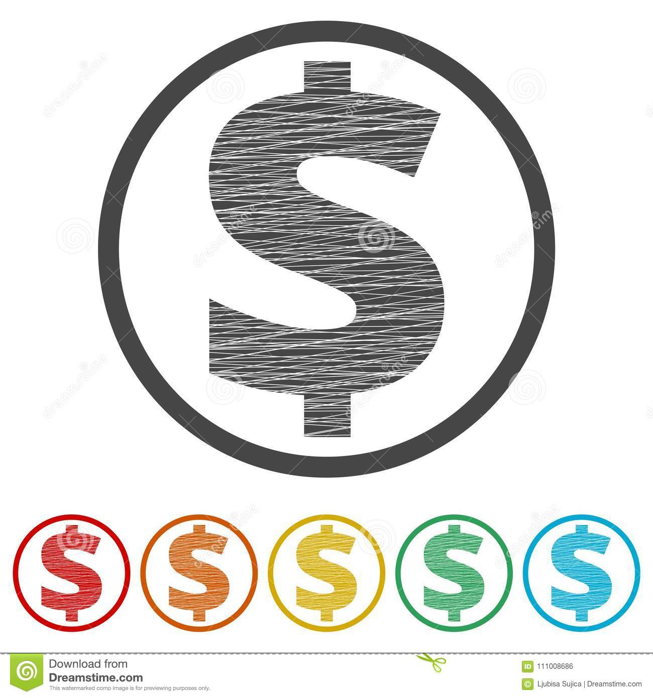 Dollars Sign Icon Usd Currency Symbol 6 Colors Included Stock
