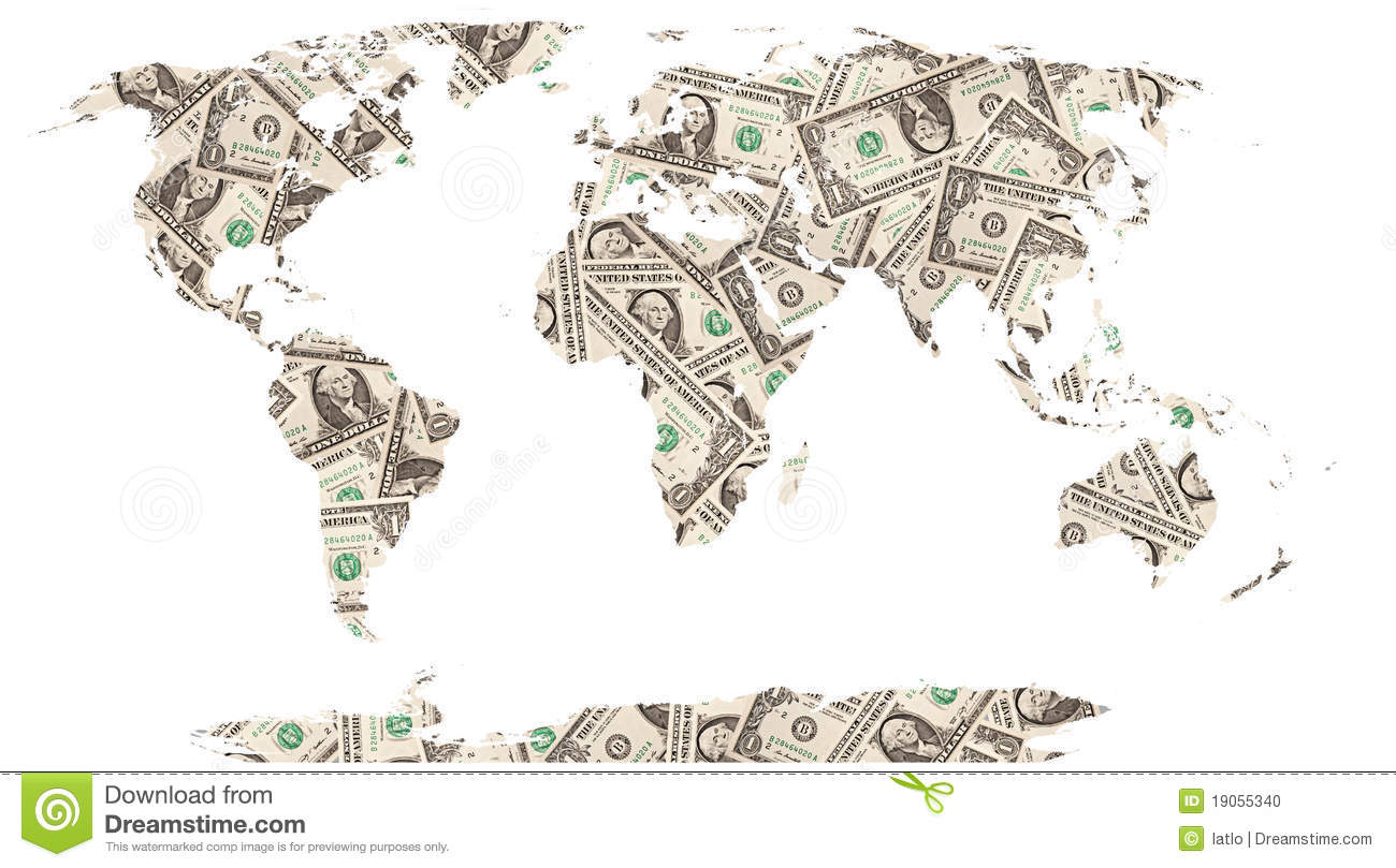 Download Dollars world map stock photo. Image of finance, business - 19055340