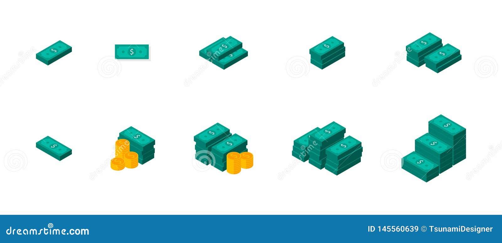 Dollarsbundels, Geld, Dollar, Stapel van geld, Muntstuk, Isometrisch, Vector, Vlak pictogram, Pictogrampak, Pictogramreeks