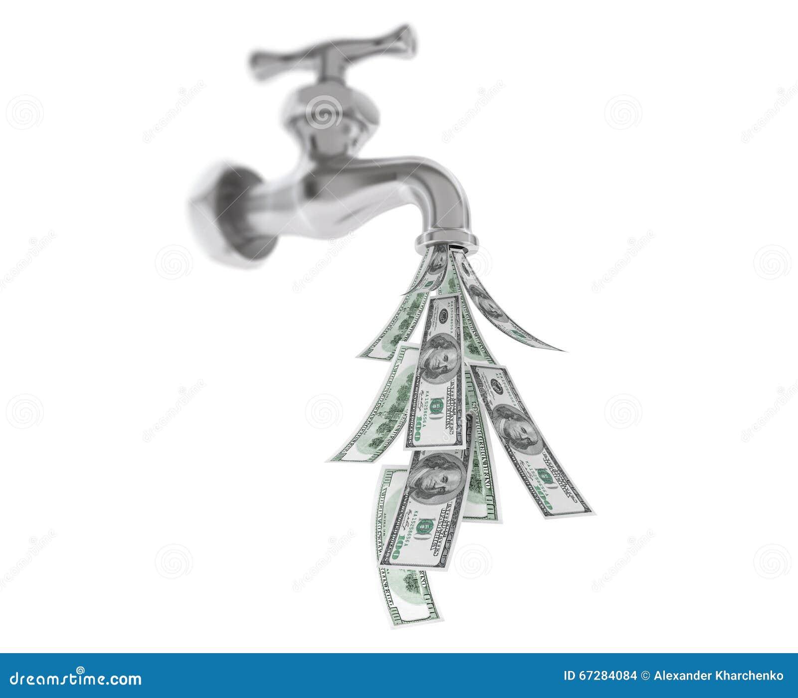 Dollarscheine Die Vom Chrome Wasser Hahn Herauskommen Stockfoto