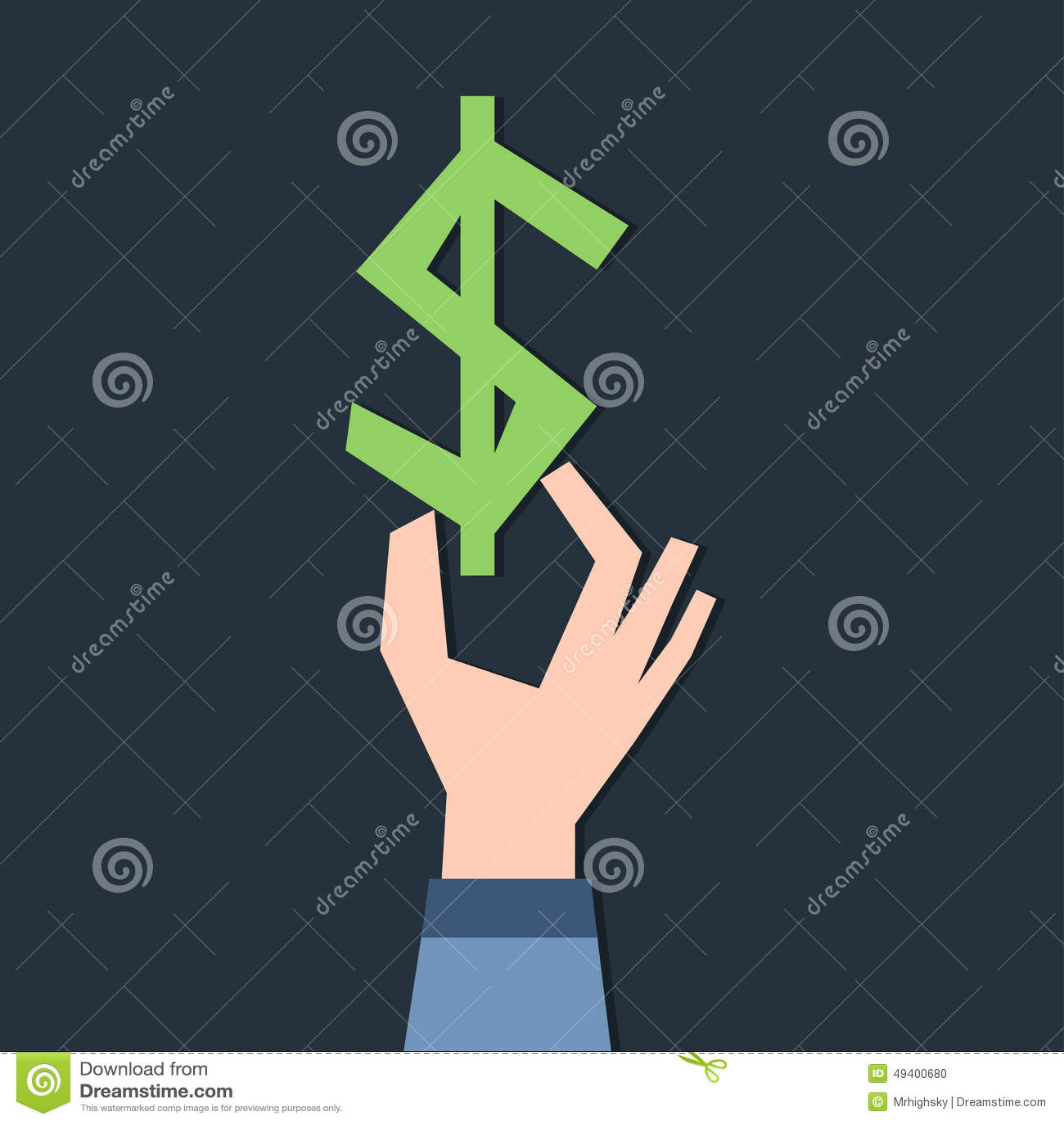 Download Dollarsymbol in der Hand vektor abbildung. Illustration von auslegung - 49400680