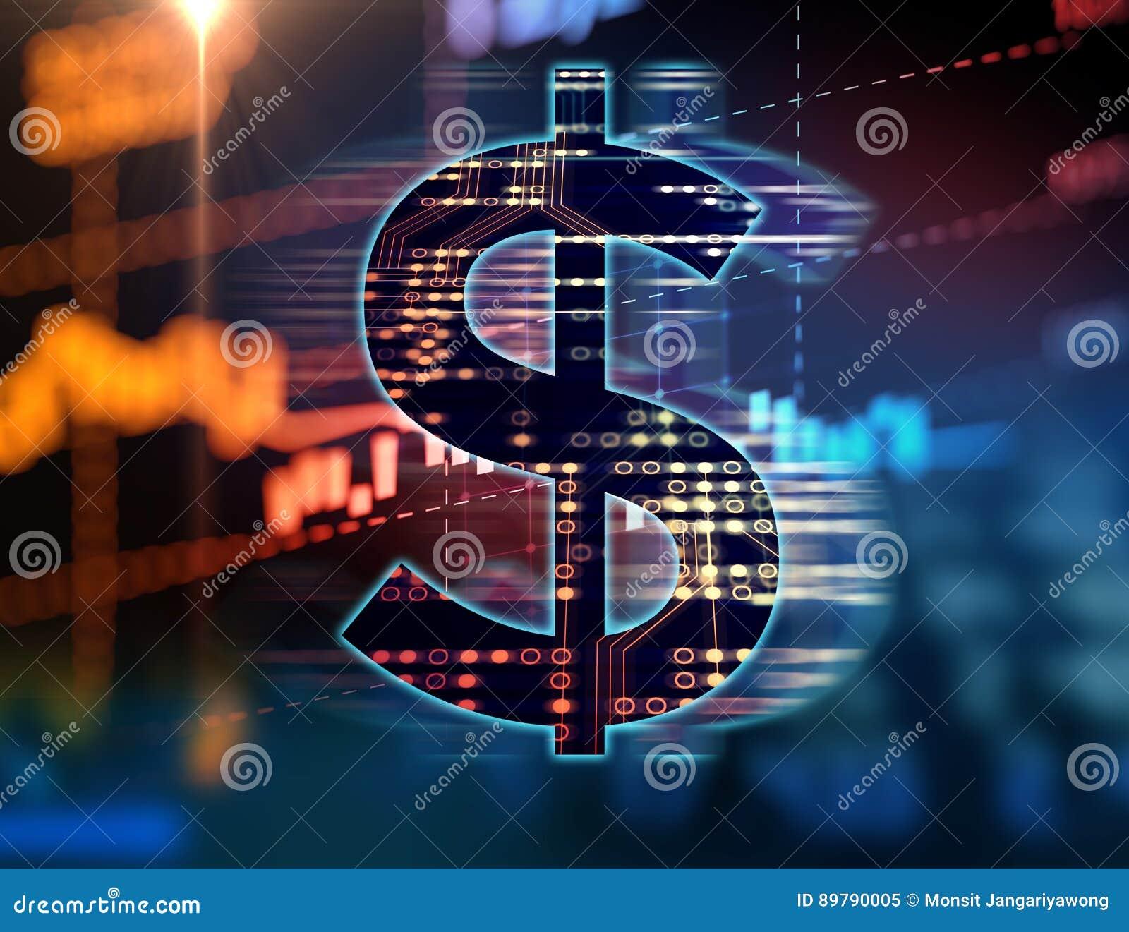 Dollarzeichen auf abstraktem Finanztechnologiehintergrund