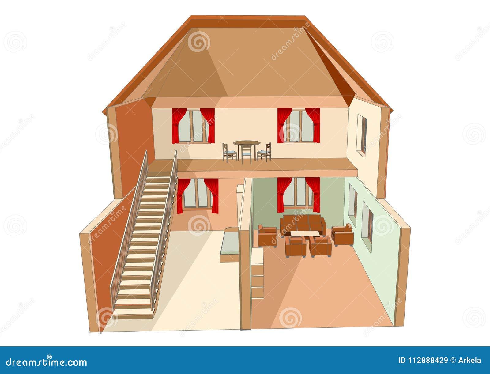 Dolls House Isolated Stock Illustration Illustration Of