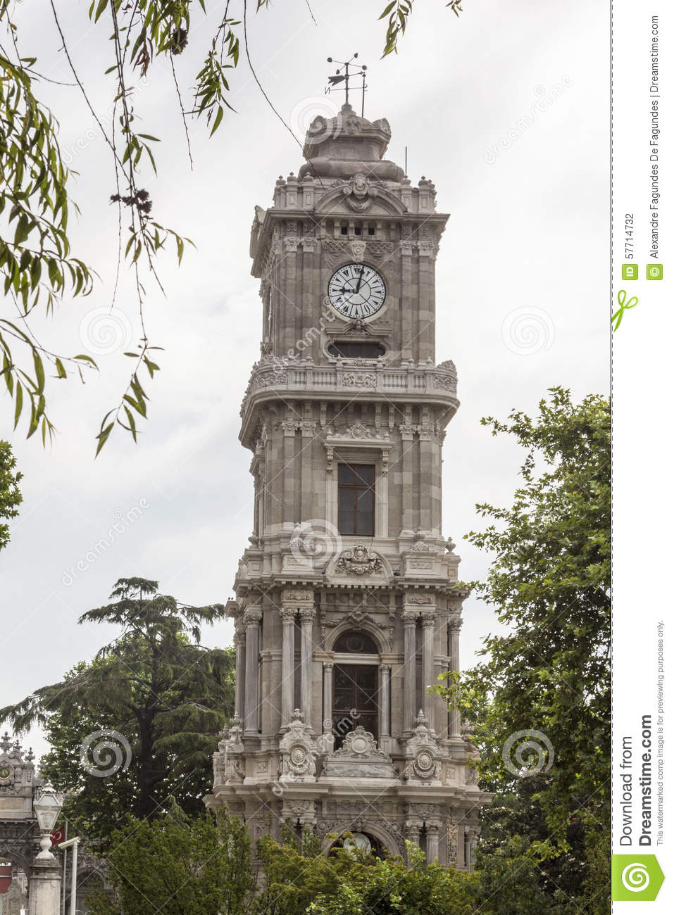 Dolmabahçe Clock Tower Istanbul Stock Photo - Image: 57714732