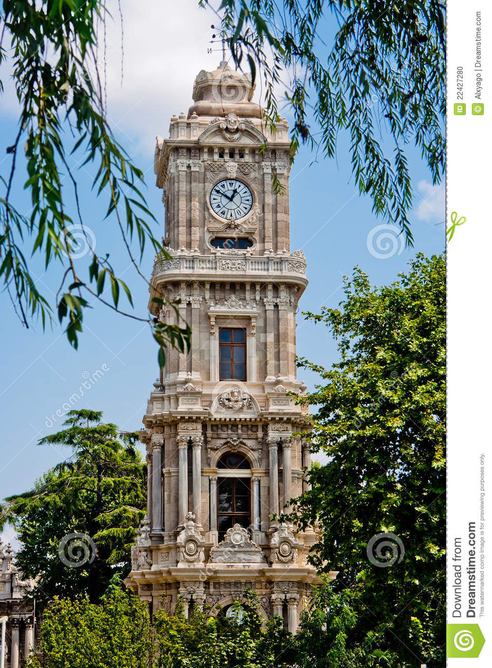 Dolmabahce Clock Tower Stock Photo - Image: 22427280