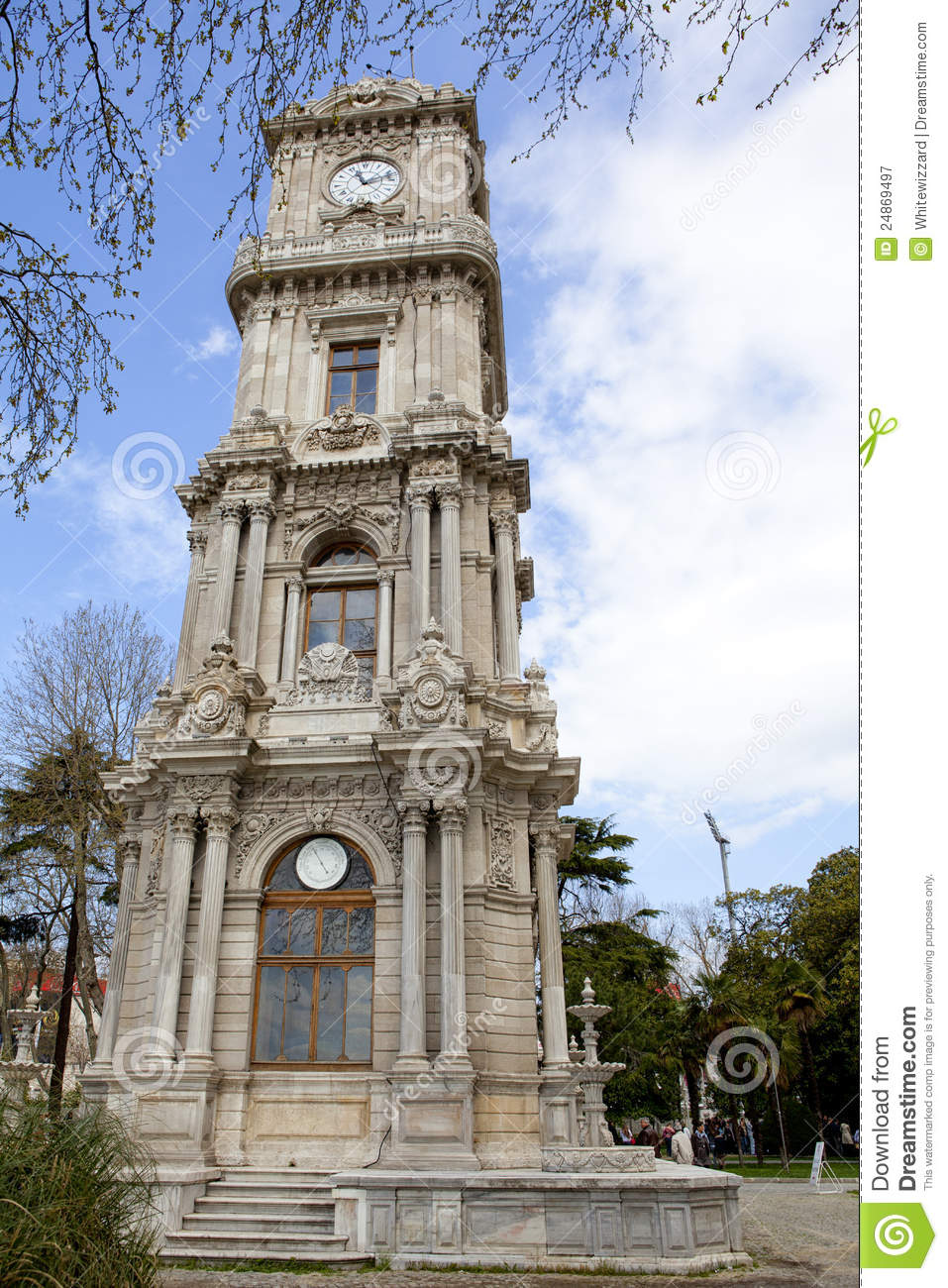 Dolmabahce Clock Tower In Istanbul Royalty Free Stock ...