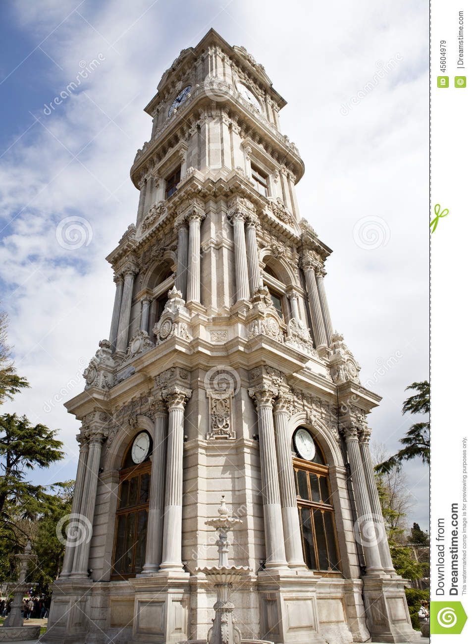 Dolmabahce Clock Tower In Istanbul. Turkey. Stock Photo ...