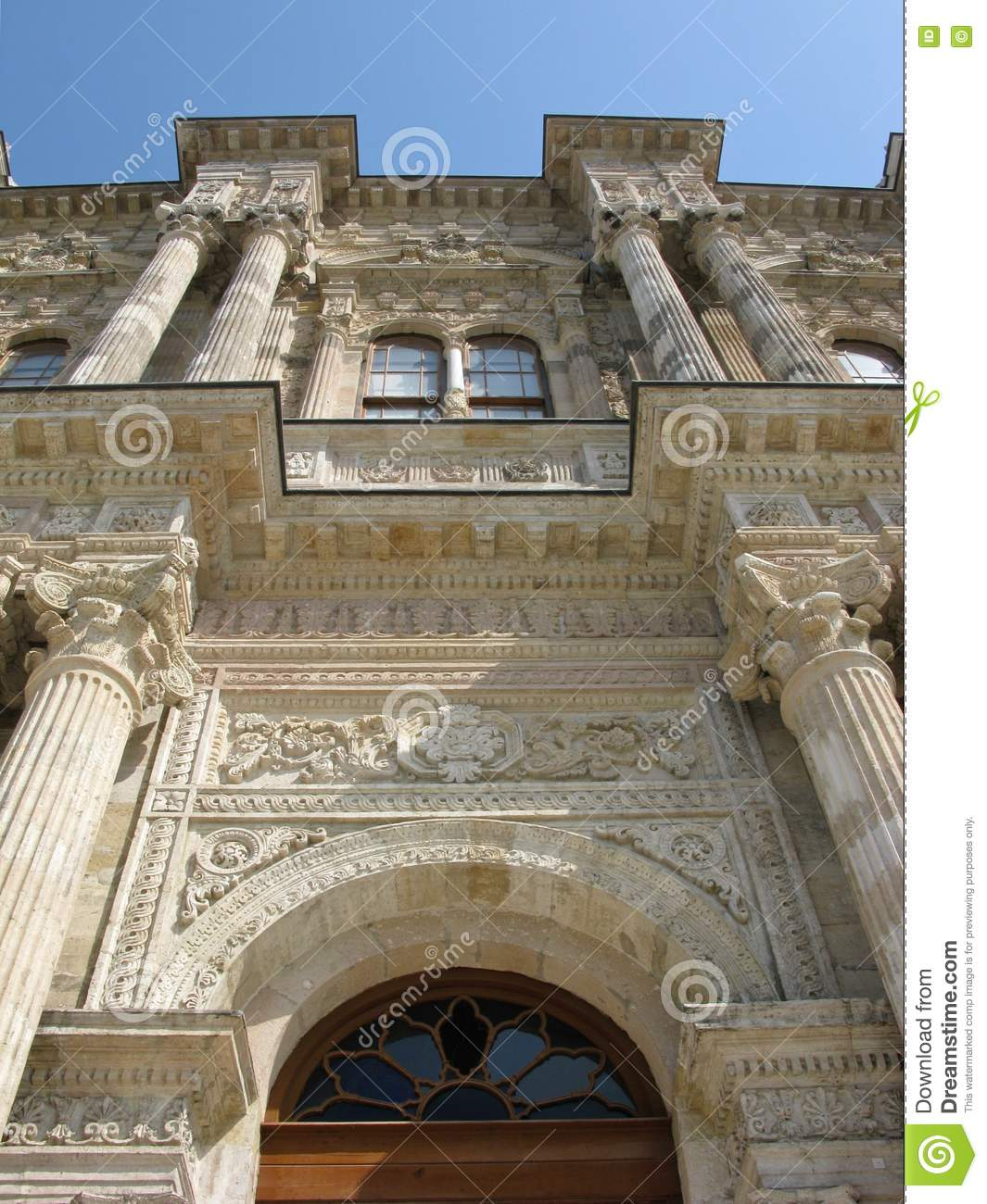 dolmabahce palace entrance detail istanbul turkey stock