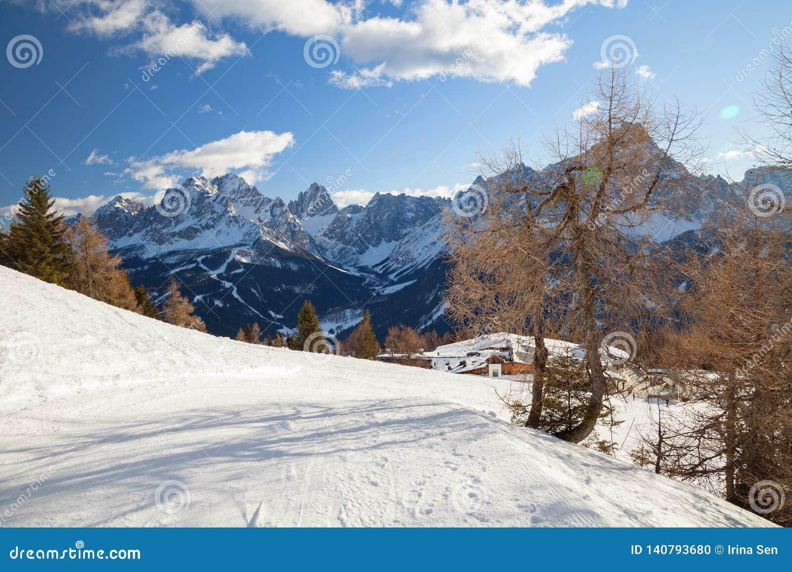 Monte Elmo, Dolomites, Italy - Mountain skiing and snowboarding. Sexten (Sesto), Trentino-Alto Adige, Alta Pusteria