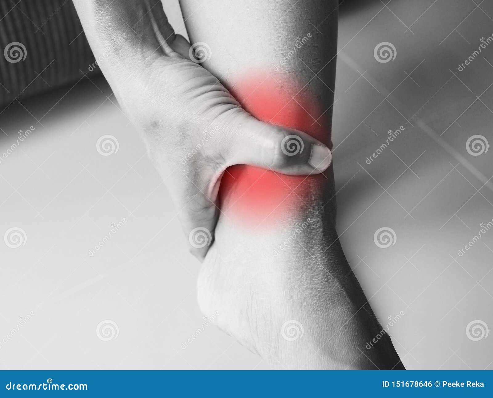 Dolor agudo con la compresión del dolor del tobillo de los tendones