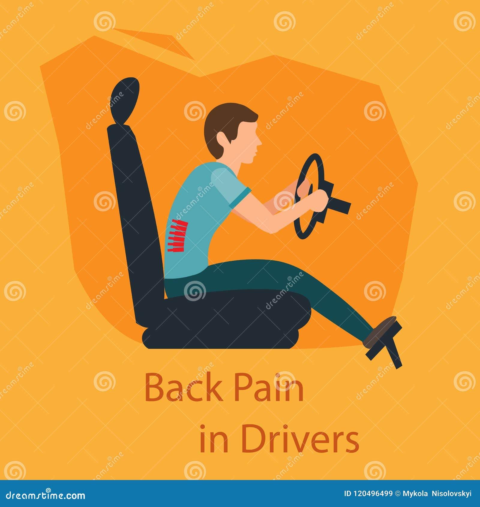 Dolor de espalda en conductores Ilustración del vector