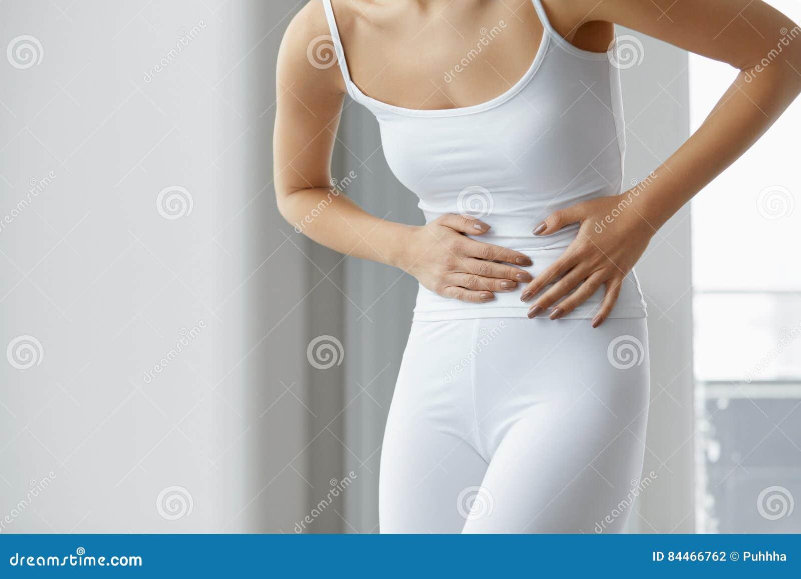 Dolor Femenino Dolor De Estómago Hermoso De La Sensación De Cuerpo ...