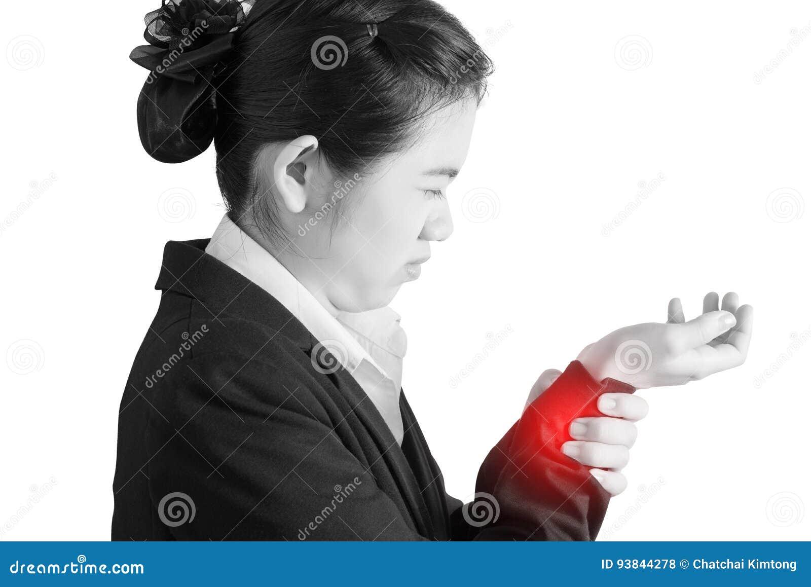 Dolore acuto in un polso della donna isolato su fondo bianco Percorso di ritaglio su fondo bianco
