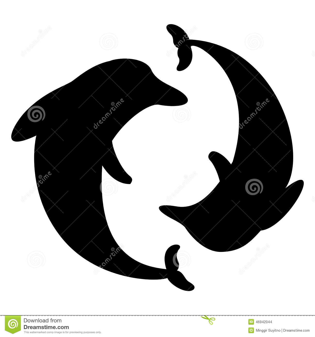 Dolphin Arranged In A Circle Silhouette Stock Vector - Image: 46942044