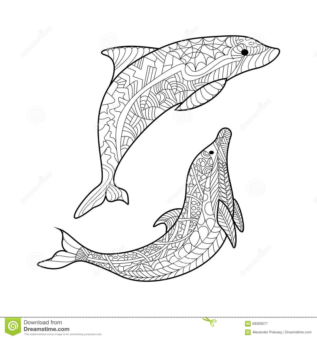 Dolphin Coloring Book For Adults Vector Stock