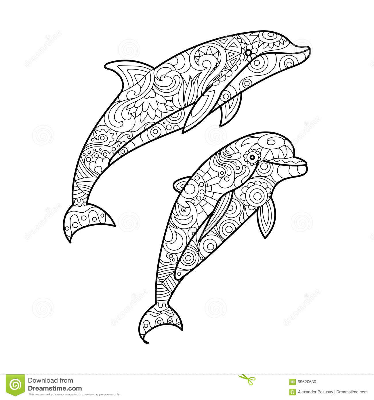 Coloring Dolphin Mandala Vector Illustration ...