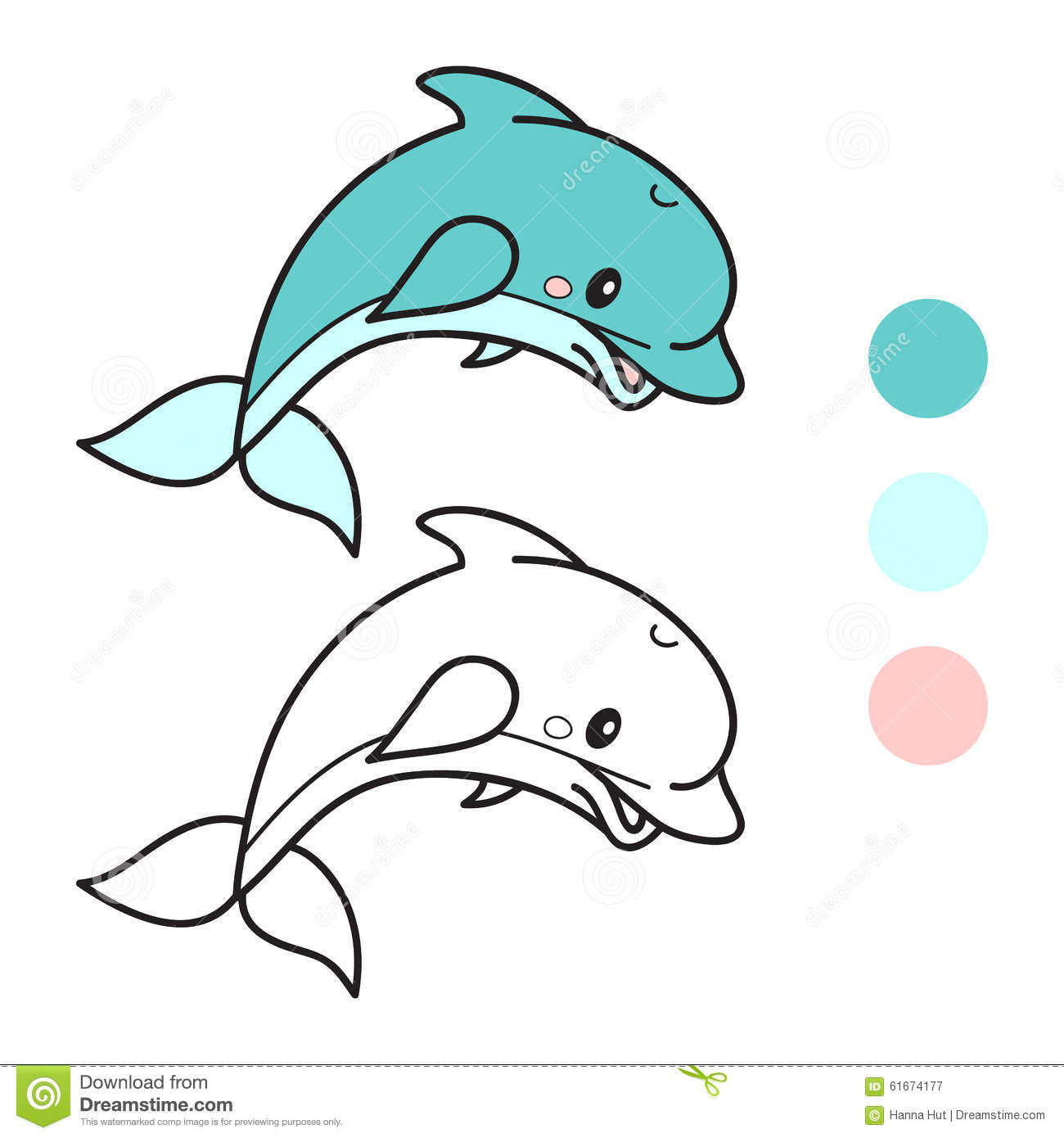 Dolphin. Coloring Book Page. Cartoon Vector Illustration. Stock ...