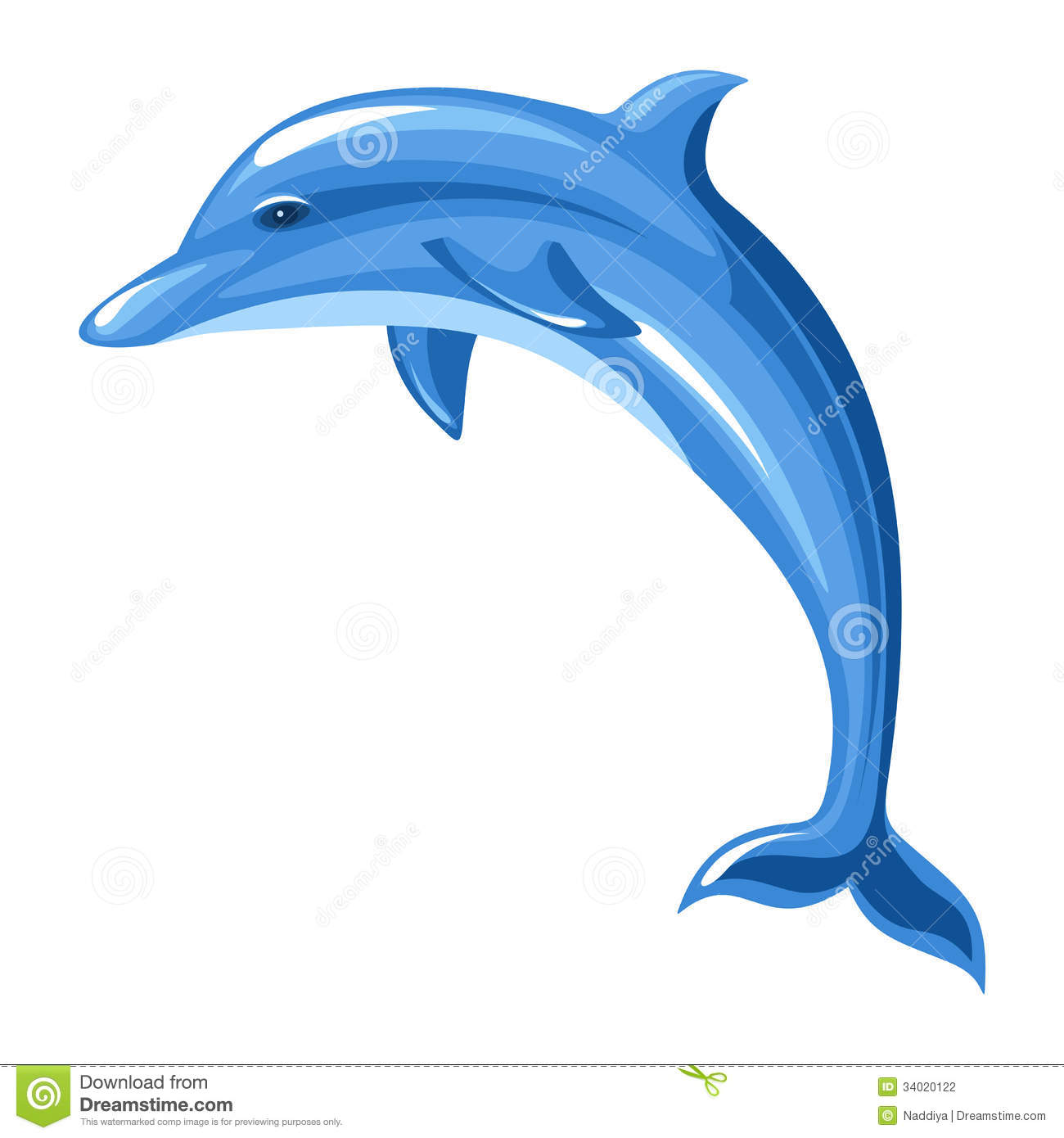 Illustration of blue dolphin isolated on a white background.