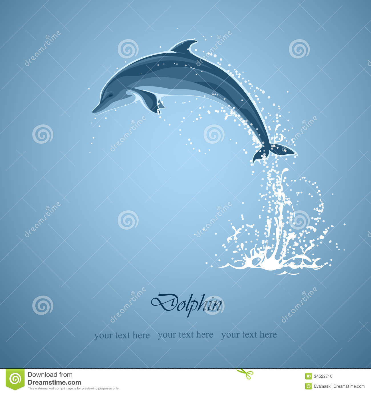 Blue background with jumping dolphin and a splash of water Pacific Ocean Underwater Animals