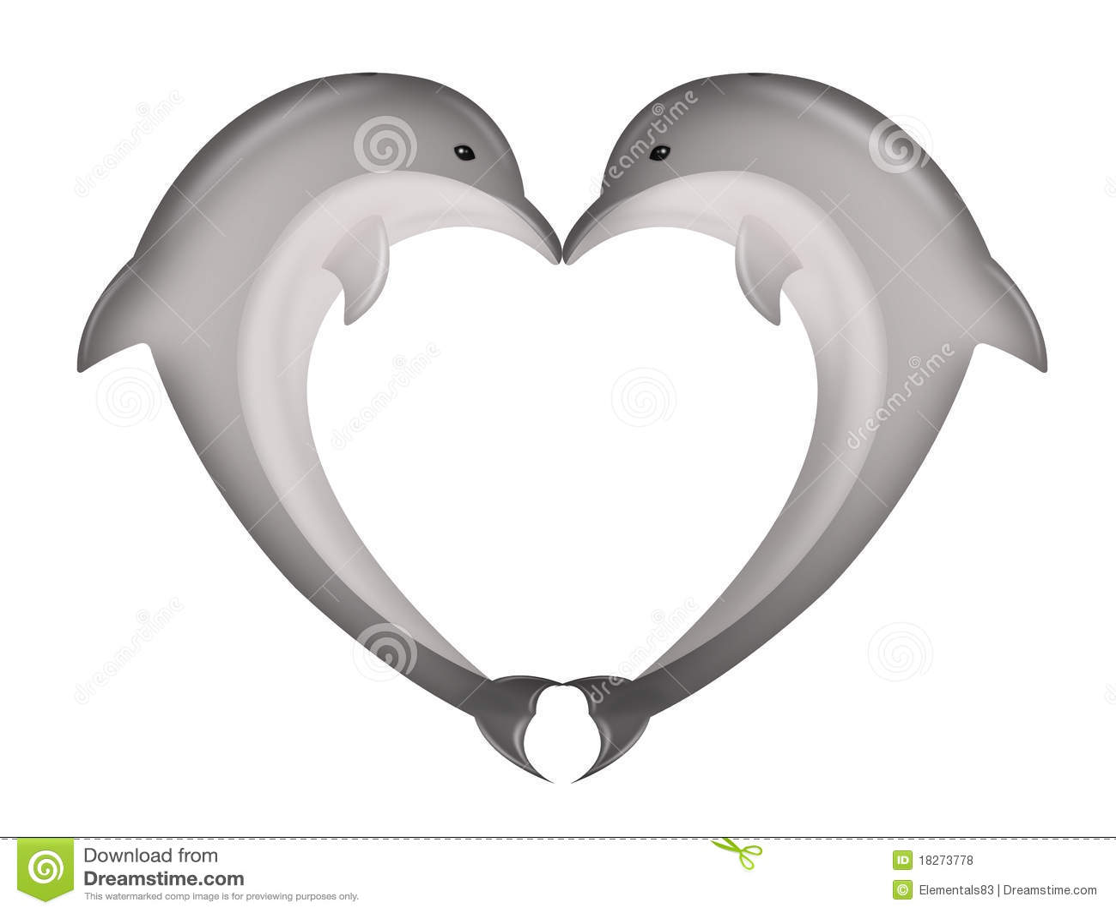The Dolphin Kiss Stock Illustration Of Mammals